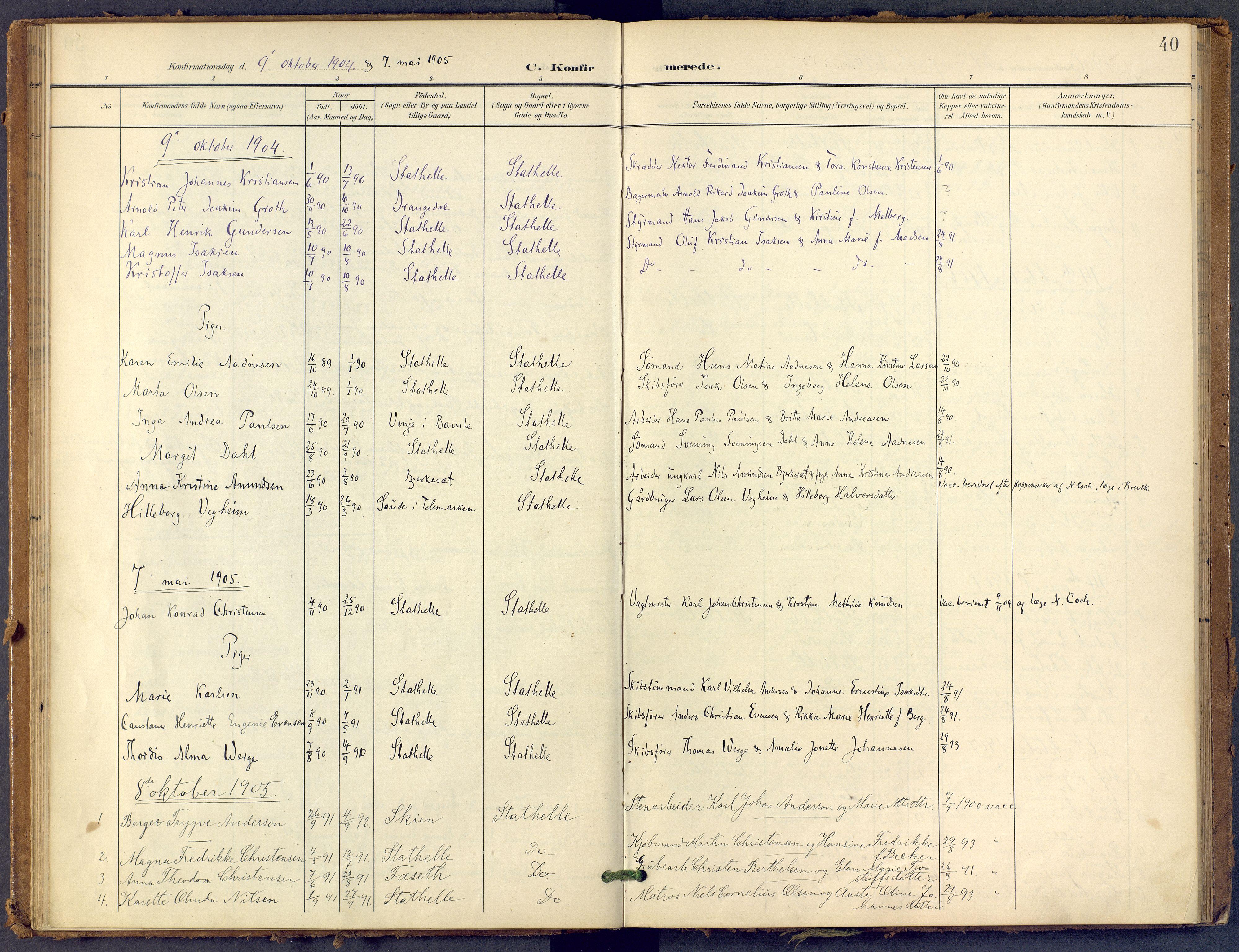 SAKO, Bamble kirkebøker, F/Fb/L0002: Ministerialbok nr. II 2, 1900-1921, s. 40