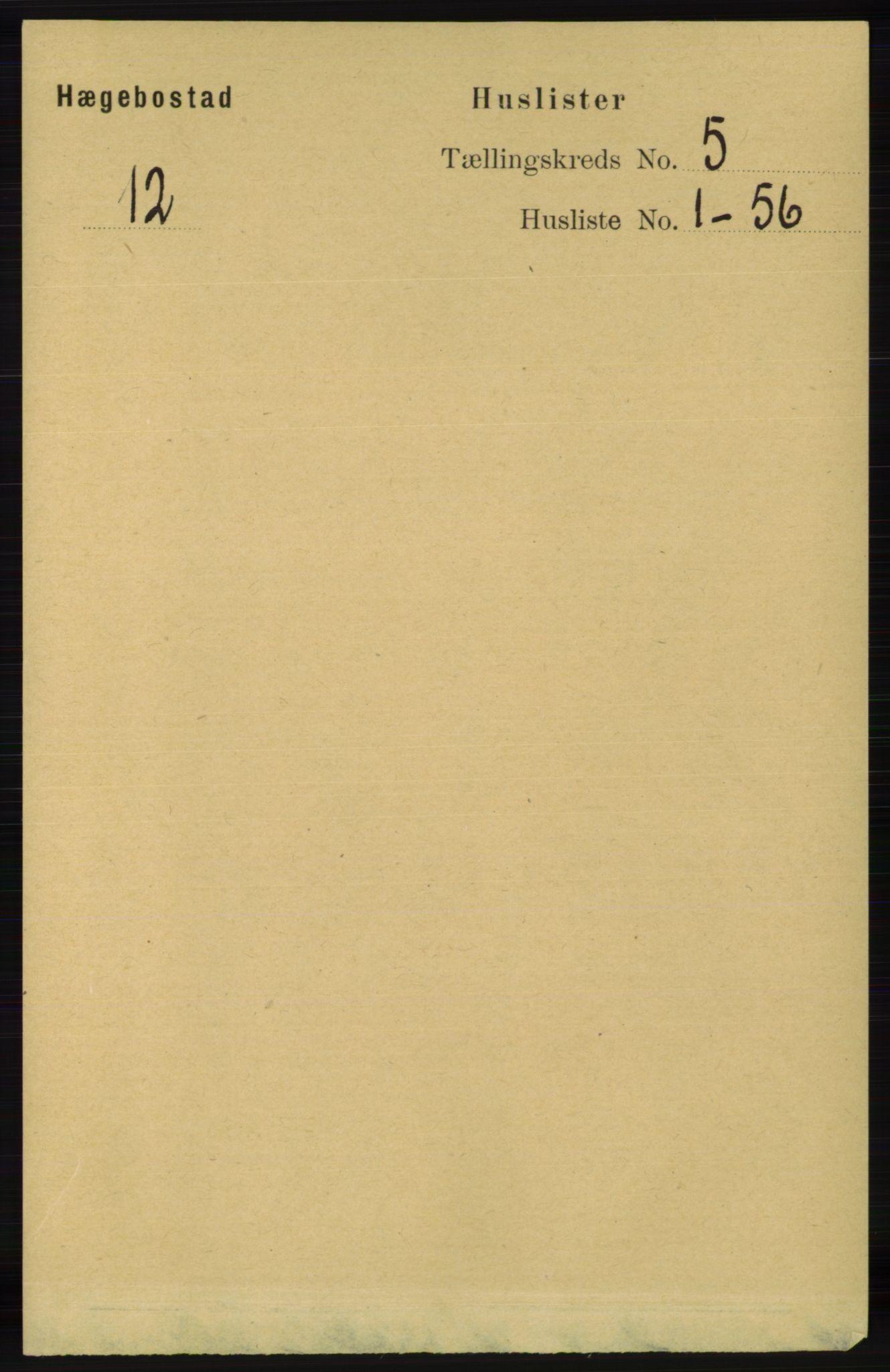 RA, Folketelling 1891 for 1034 Hægebostad herred, 1891, s. 1430
