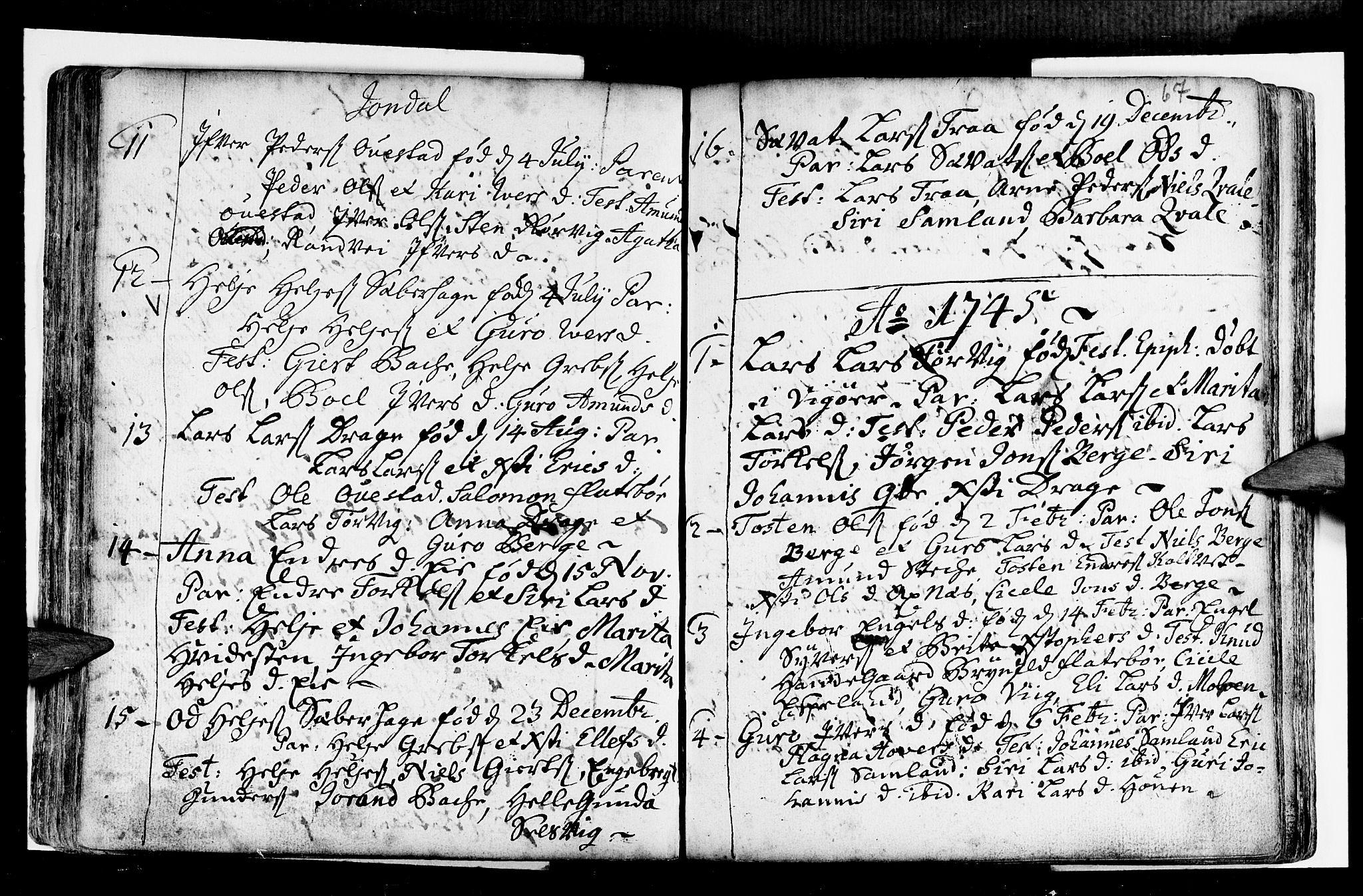 SAB, Strandebarm sokneprestembete, H/Haa: Ministerialbok nr. A 2 /2, 1727-1750, s. 67