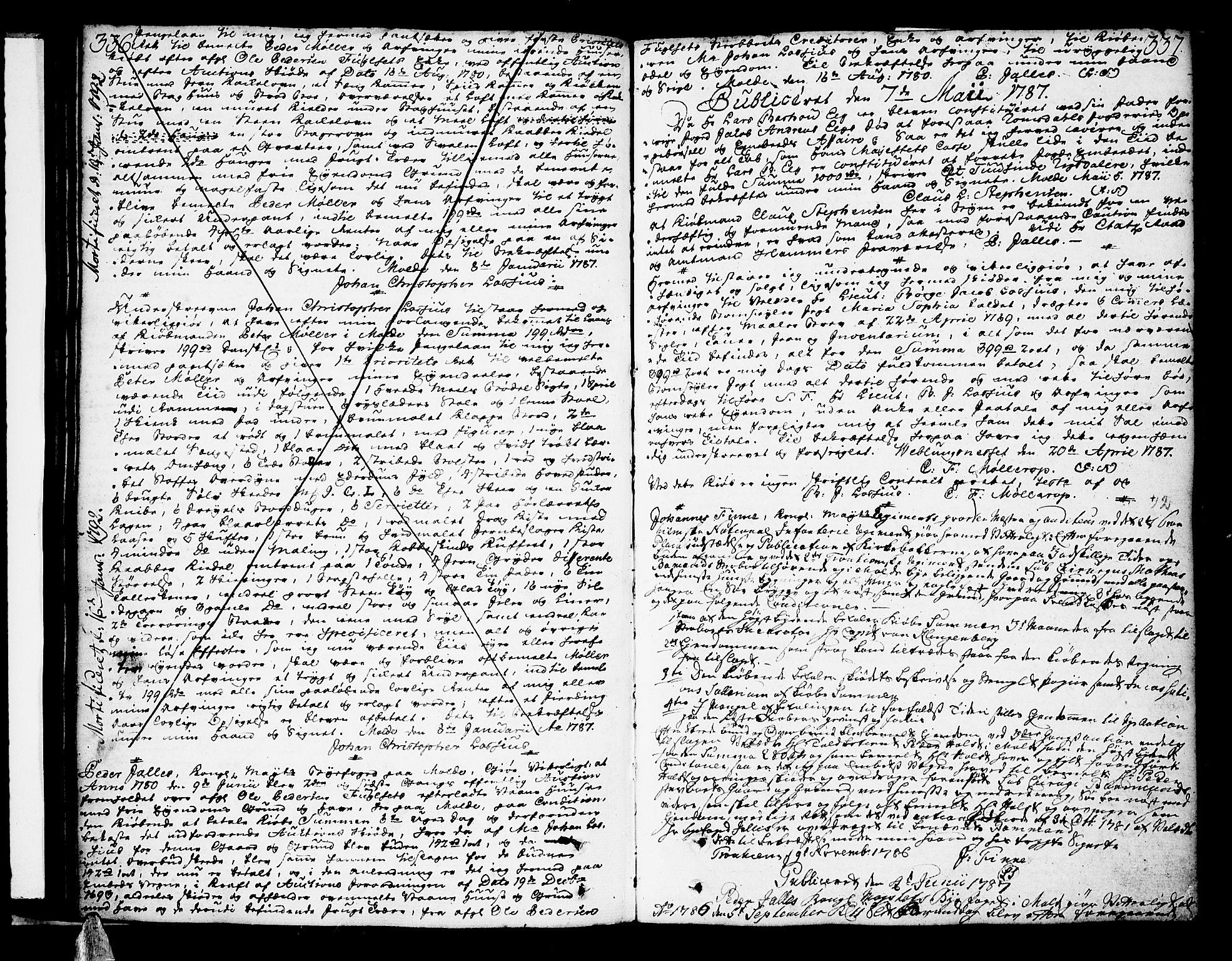 SAT, Molde byfogd, 2/2C/L0001: Pantebok nr. 1, 1748-1823, s. 336-337