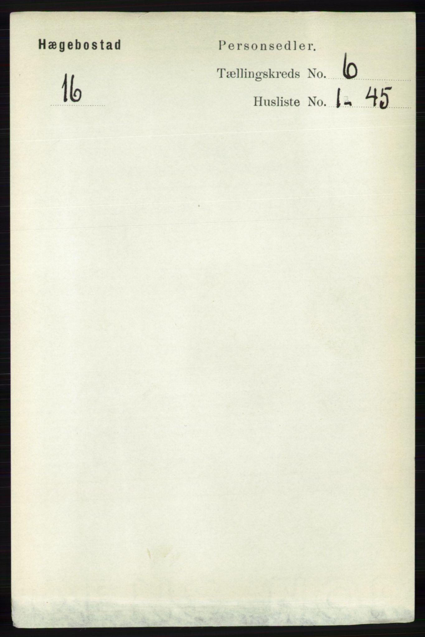 RA, Folketelling 1891 for 1034 Hægebostad herred, 1891, s. 1843