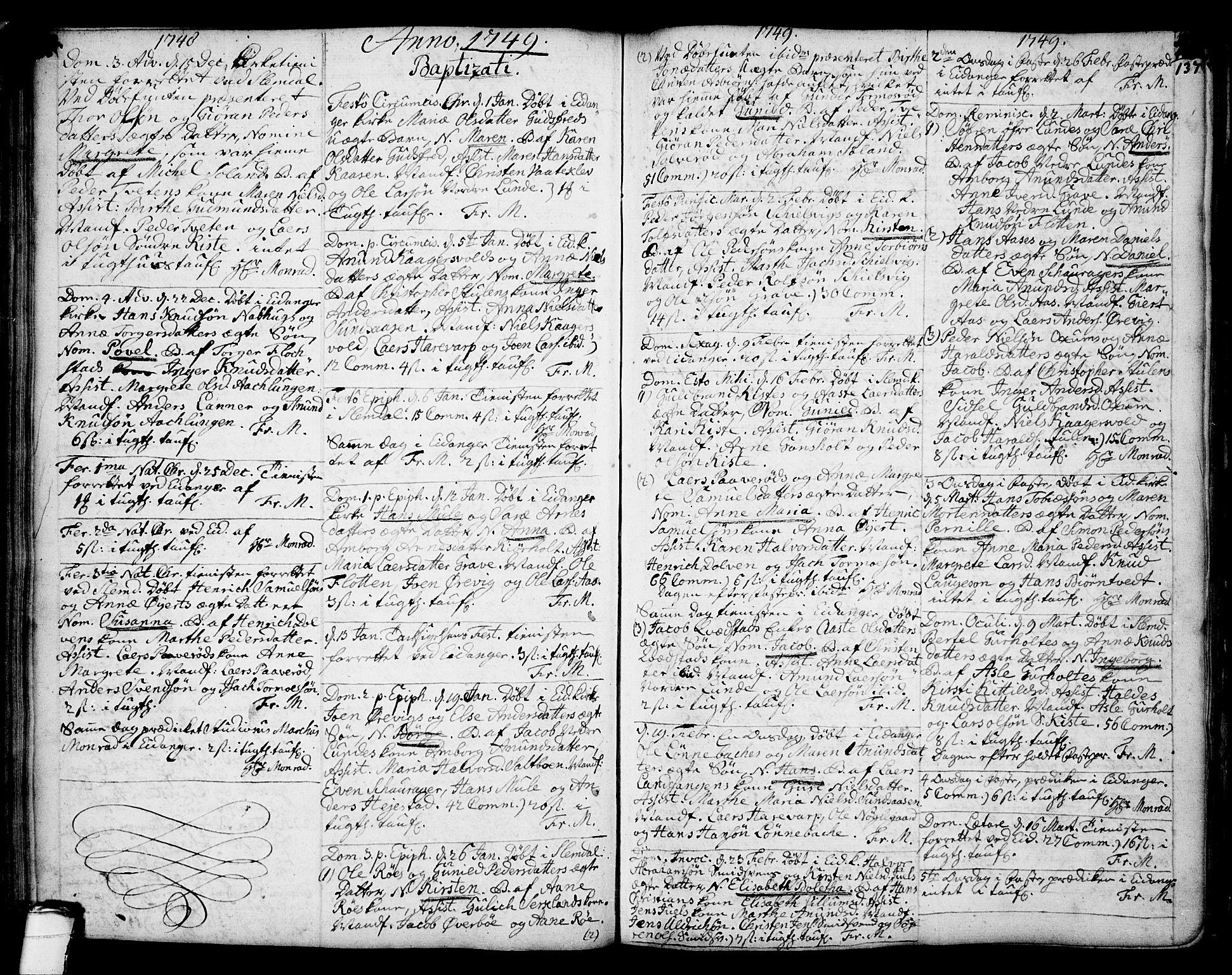 SAKO, Eidanger kirkebøker, F/Fa/L0004: Ministerialbok nr. 4, 1733-1759, s. 136-137