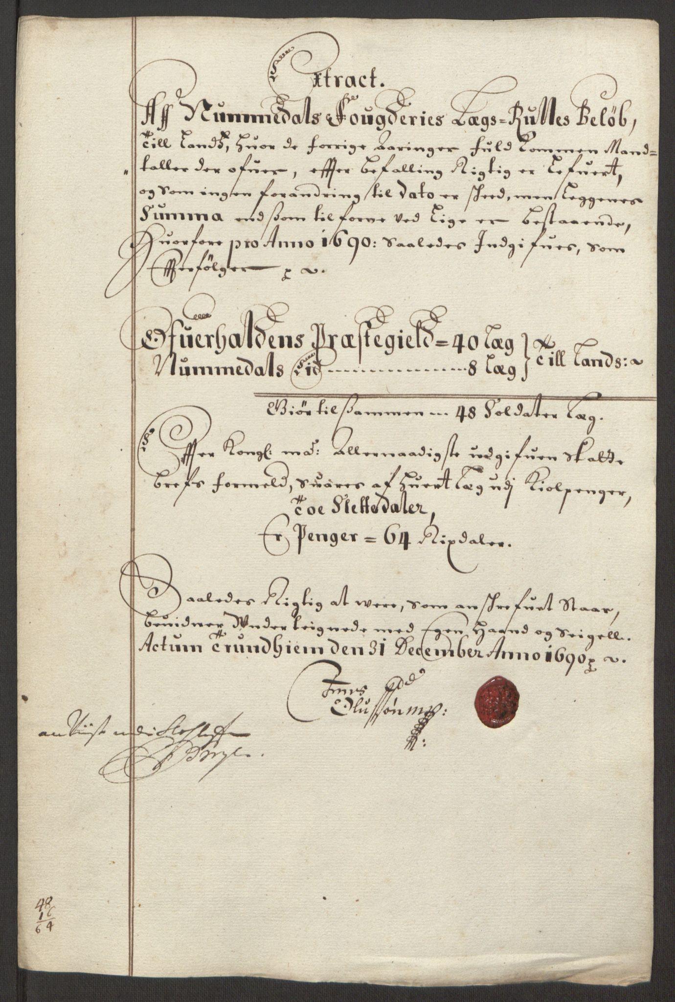 RA, Rentekammeret inntil 1814, Reviderte regnskaper, Fogderegnskap, R64/L4423: Fogderegnskap Namdal, 1690-1691, s. 37