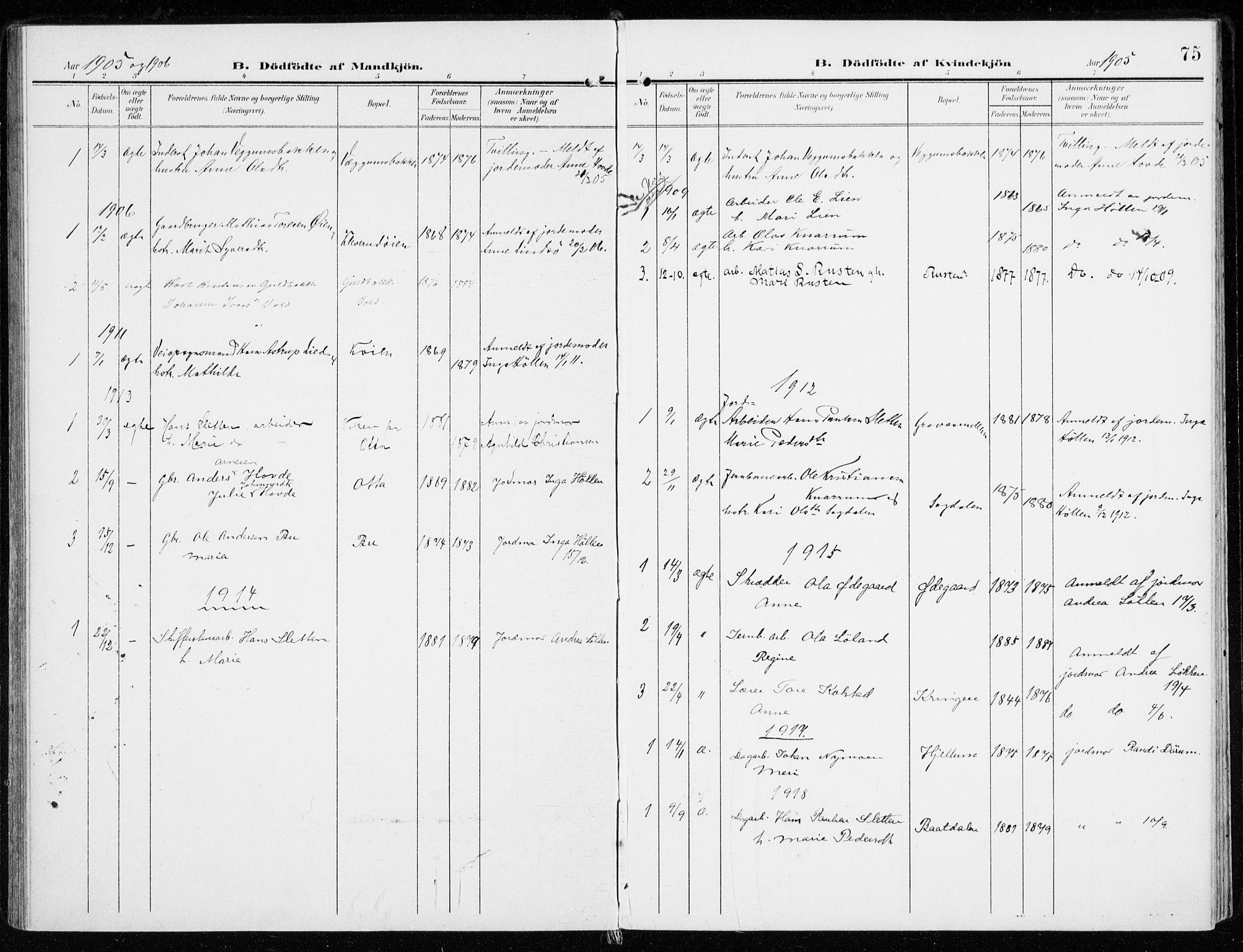 SAH, Sel prestekontor, Ministerialbok nr. 2, 1905-1919, s. 75
