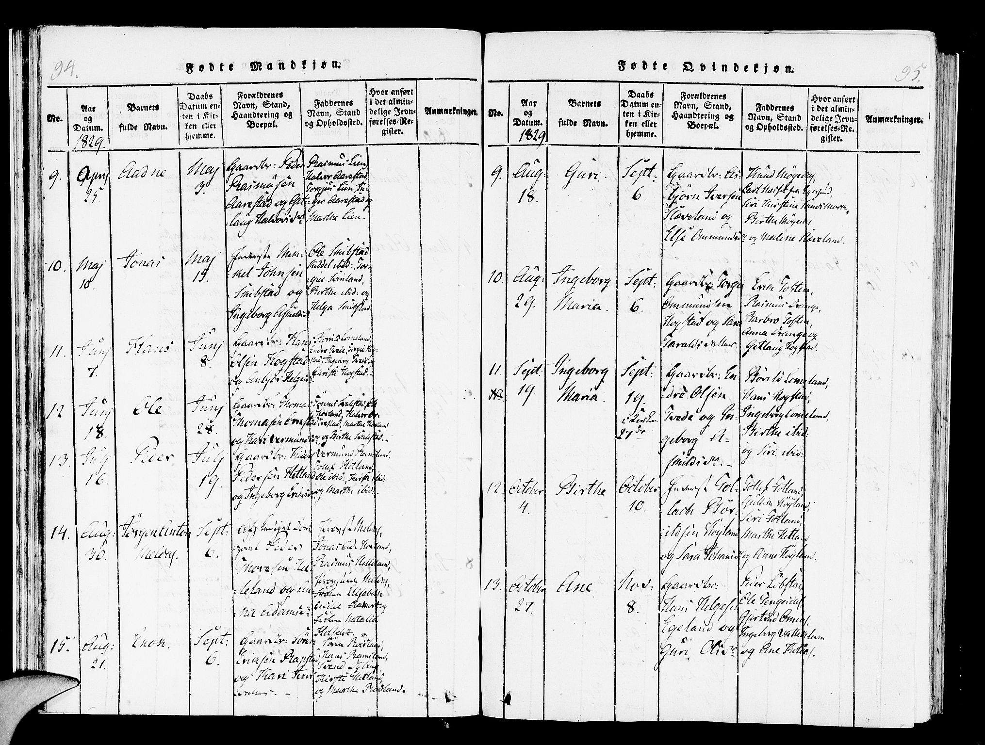 SAST, Helleland sokneprestkontor, Ministerialbok nr. A 4, 1815-1834, s. 94-95