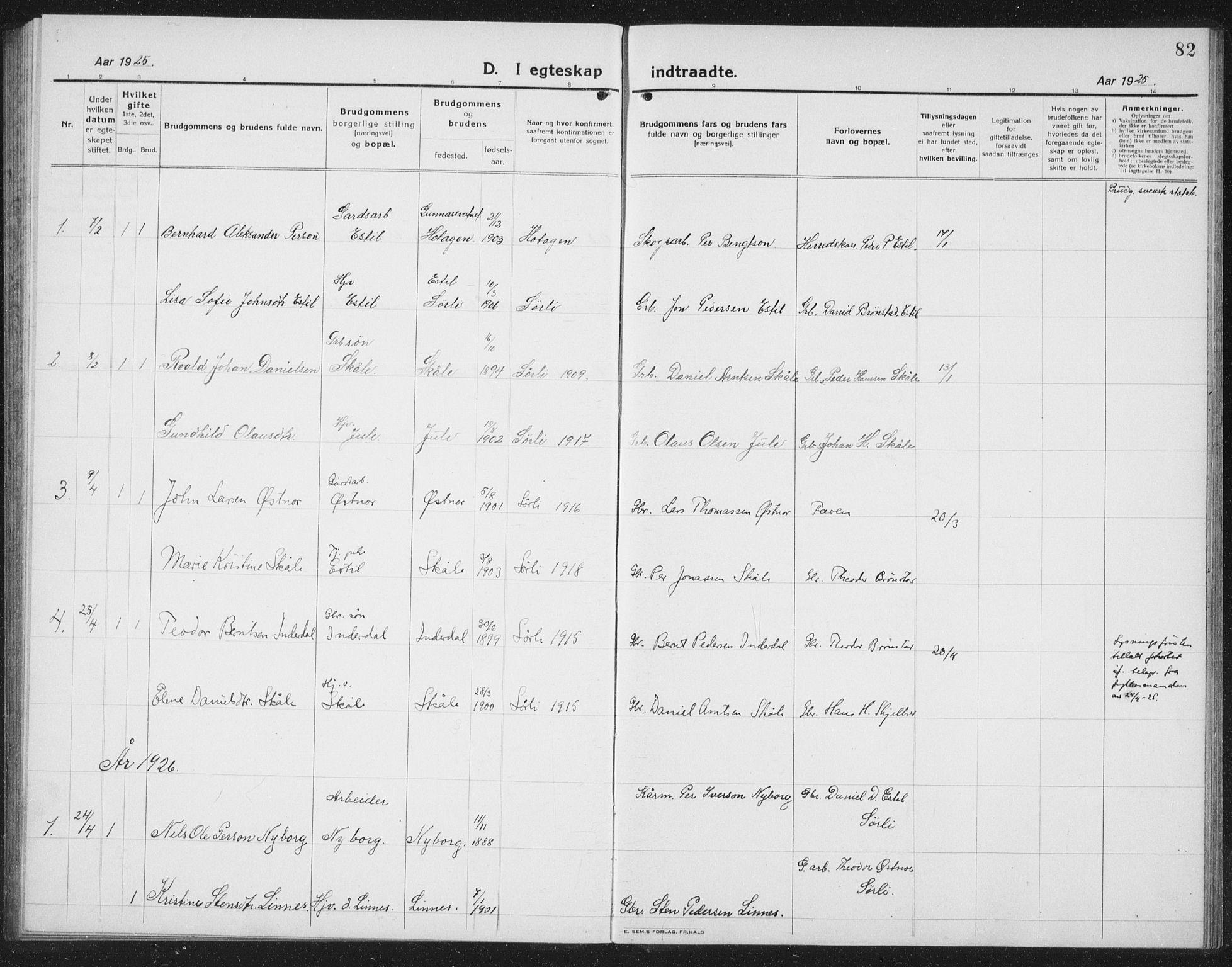 SAT, Ministerialprotokoller, klokkerbøker og fødselsregistre - Nord-Trøndelag, 757/L0507: Klokkerbok nr. 757C02, 1923-1939, s. 82