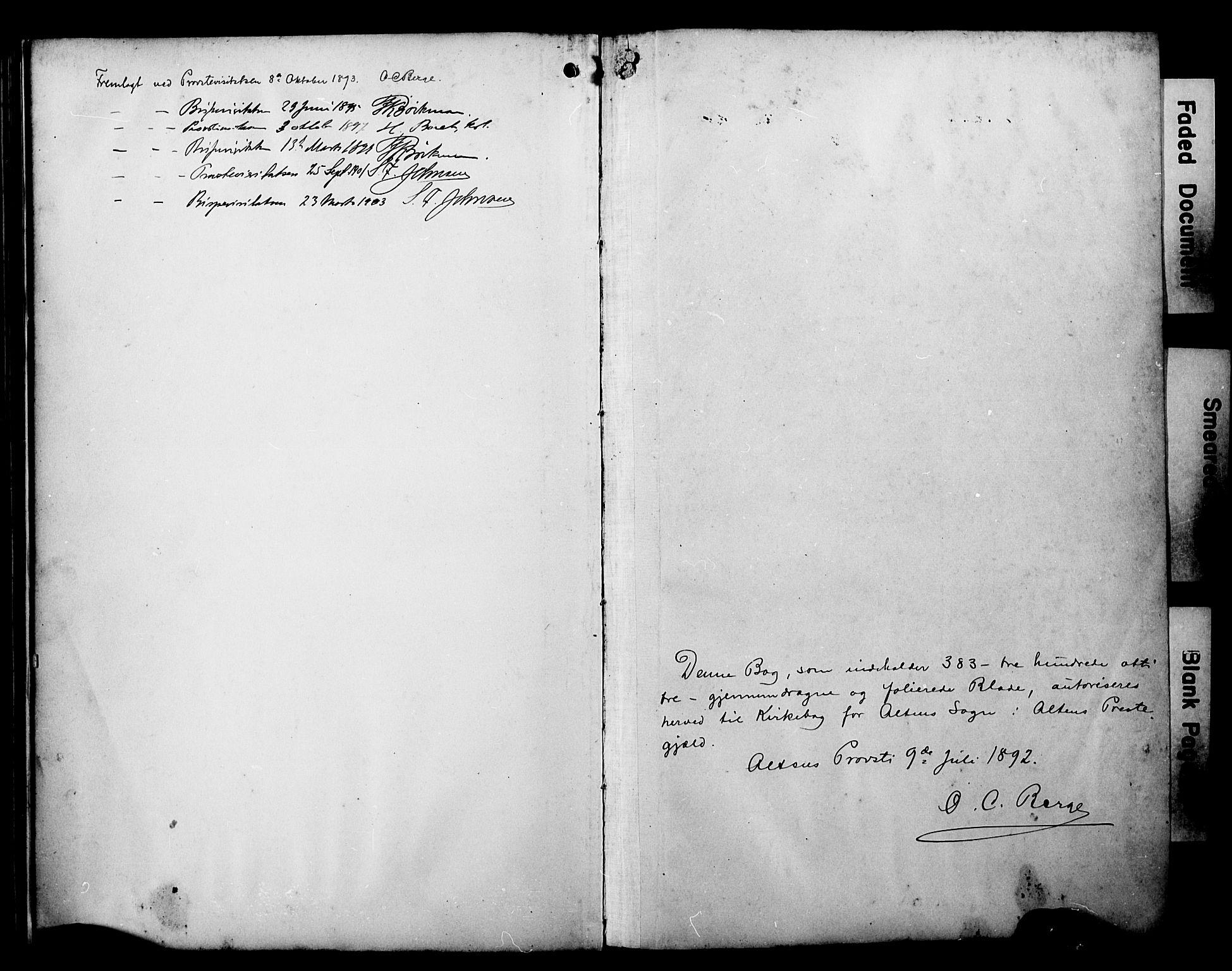 SATØ, Alta sokneprestembete, Ministerialbok nr. 3, 1892-1904