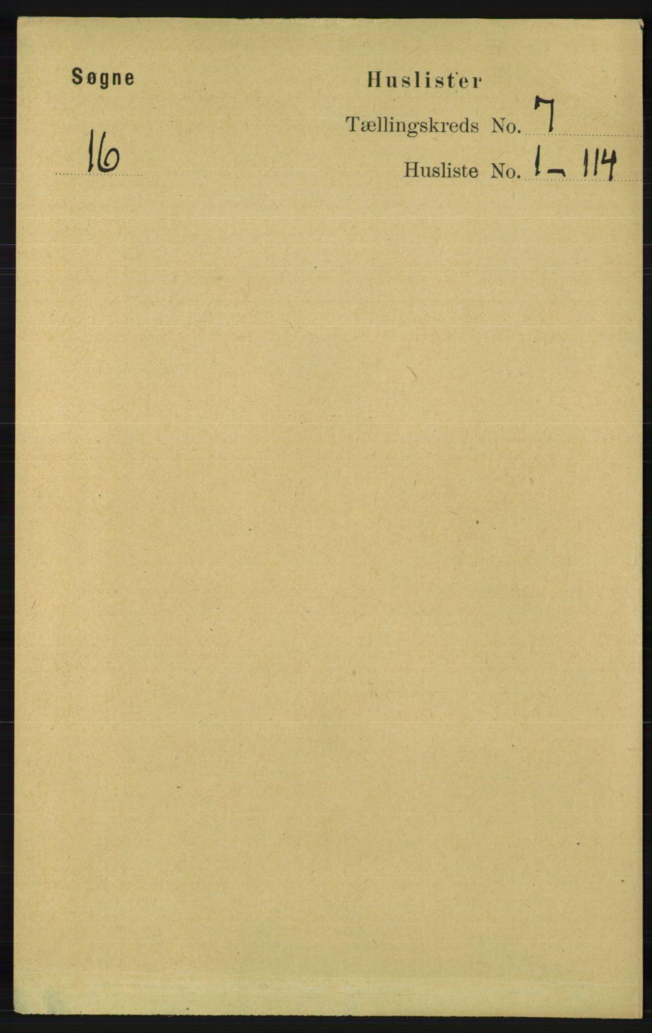 RA, Folketelling 1891 for 1018 Søgne herred, 1891, s. 1423