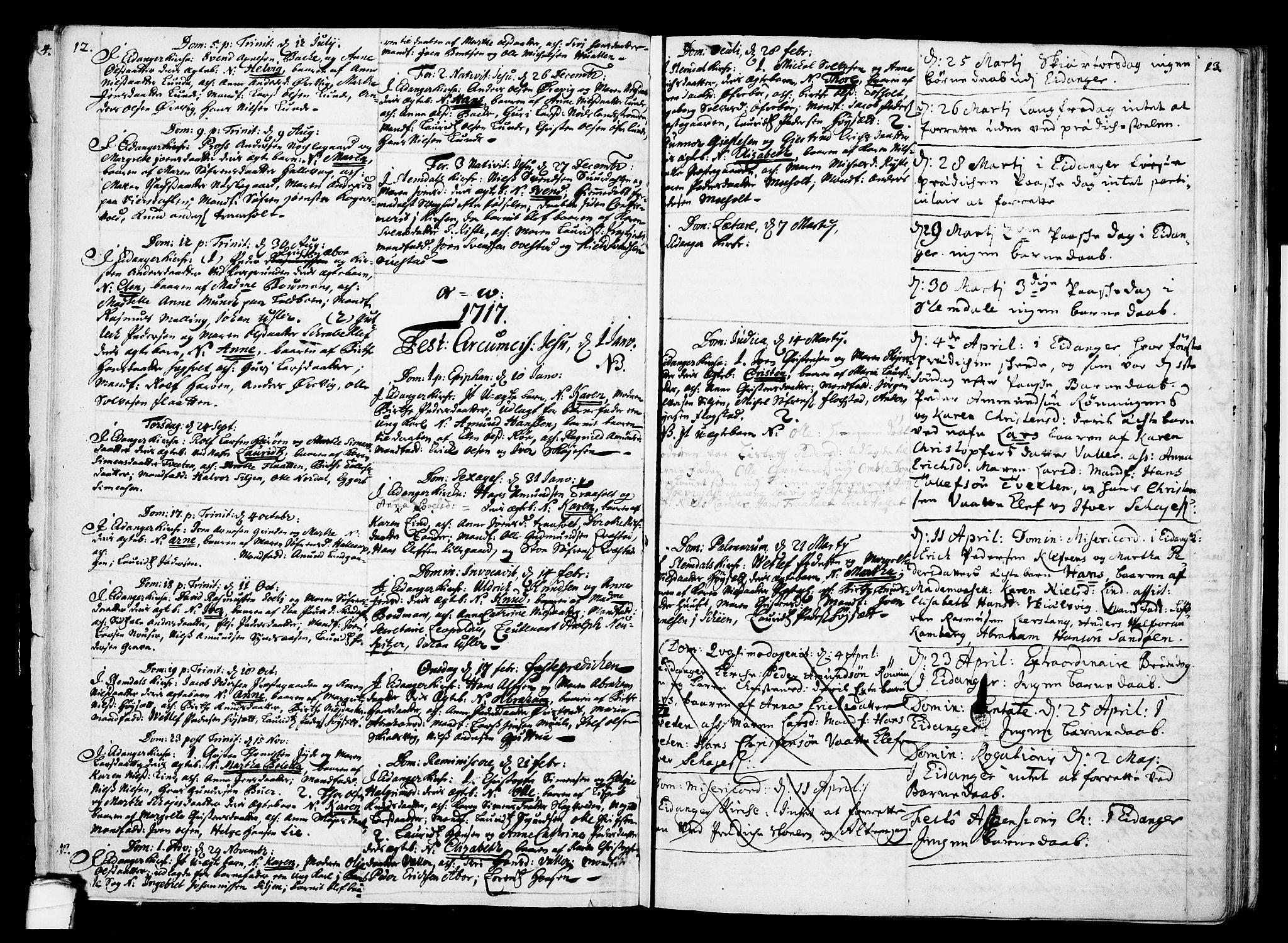 SAKO, Eidanger kirkebøker, F/Fa/L0002: Ministerialbok nr. 2, 1712-1720, s. 12-13