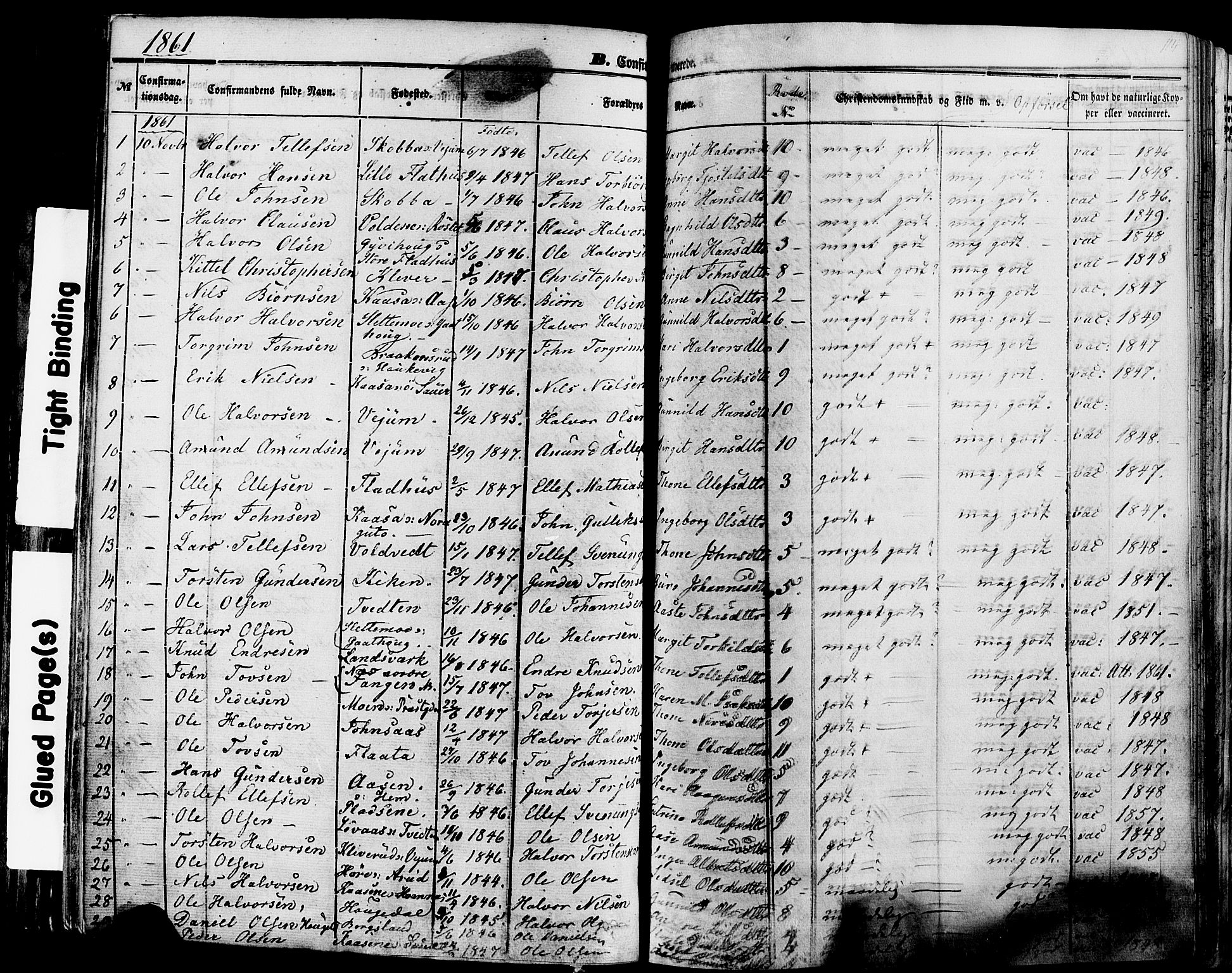SAKO, Sauherad kirkebøker, F/Fa/L0007: Ministerialbok nr. I 7, 1851-1873, s. 114