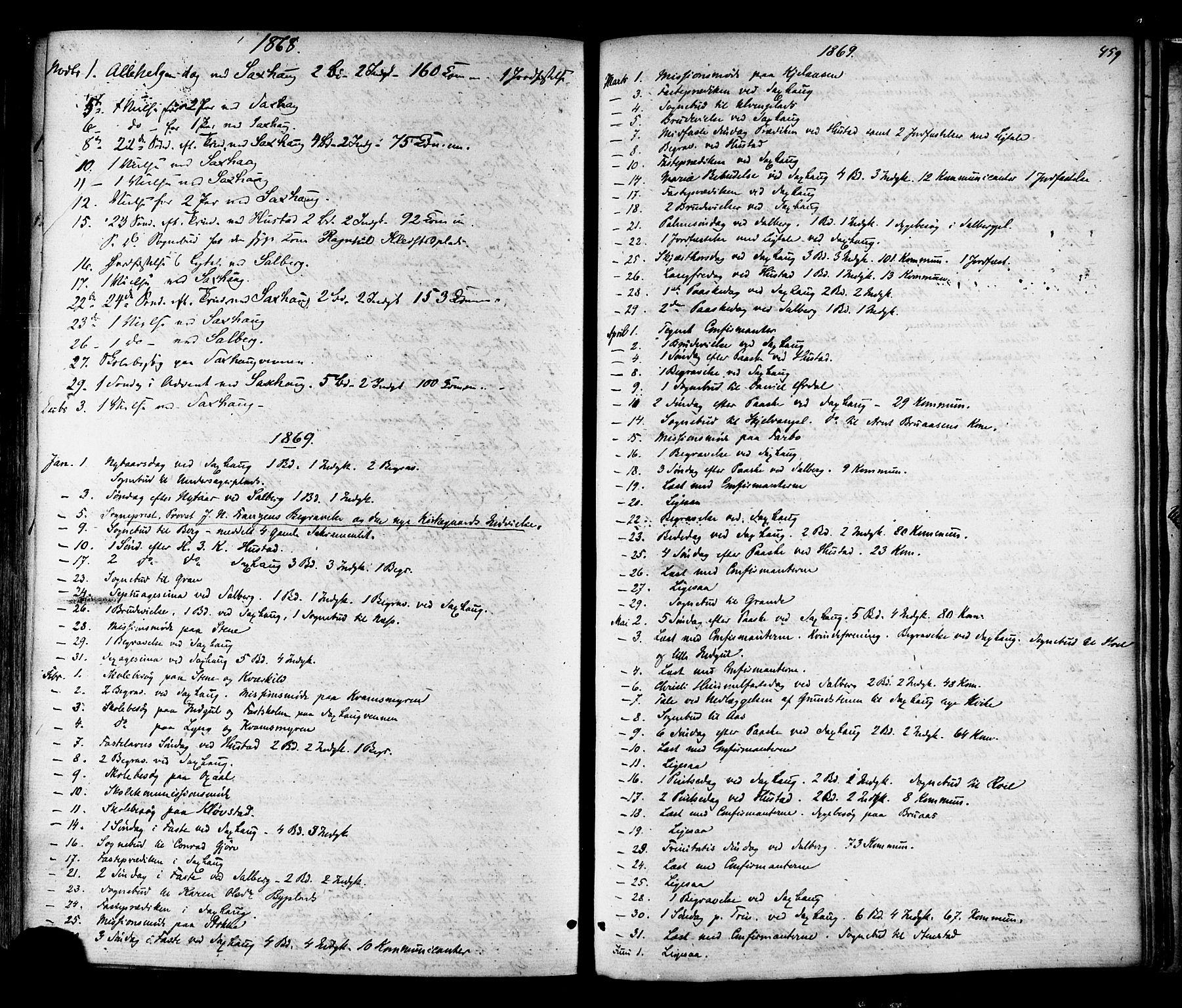 SAT, Ministerialprotokoller, klokkerbøker og fødselsregistre - Nord-Trøndelag, 730/L0284: Ministerialbok nr. 730A09, 1866-1878, s. 459