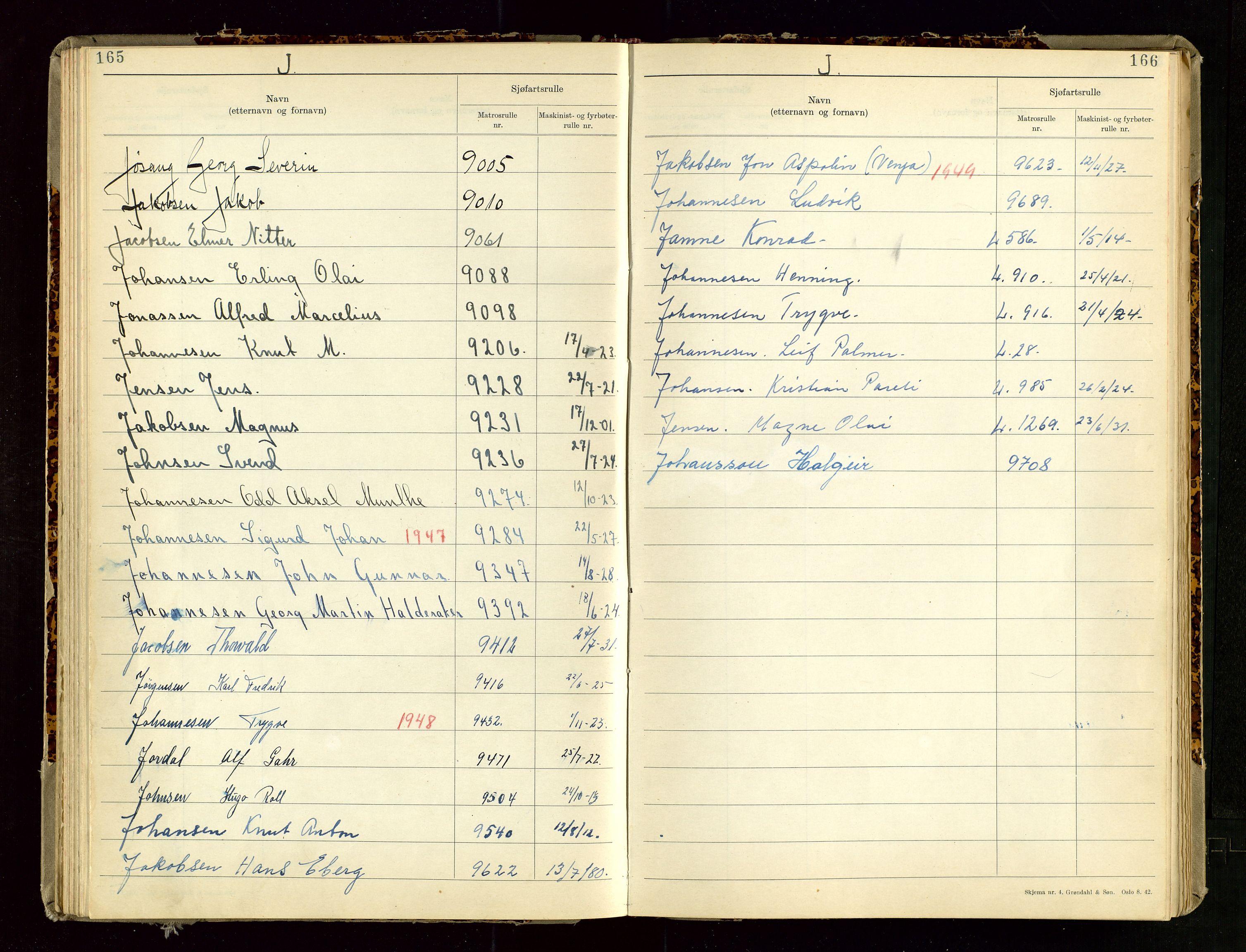 SAST, Haugesund sjømannskontor, F/Fb/Fba/L0007: Navneregister med henvisning til rullenummer (etternavn) Haugesund krets , 1944, s. 165-166