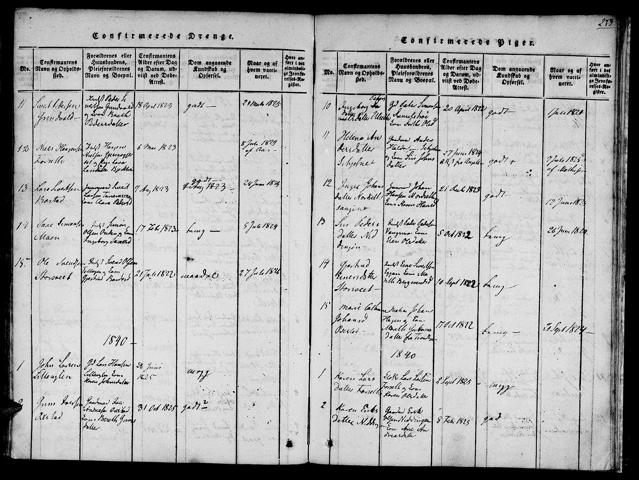 SAT, Ministerialprotokoller, klokkerbøker og fødselsregistre - Sør-Trøndelag, 618/L0439: Ministerialbok nr. 618A04 /1, 1816-1843, s. 273