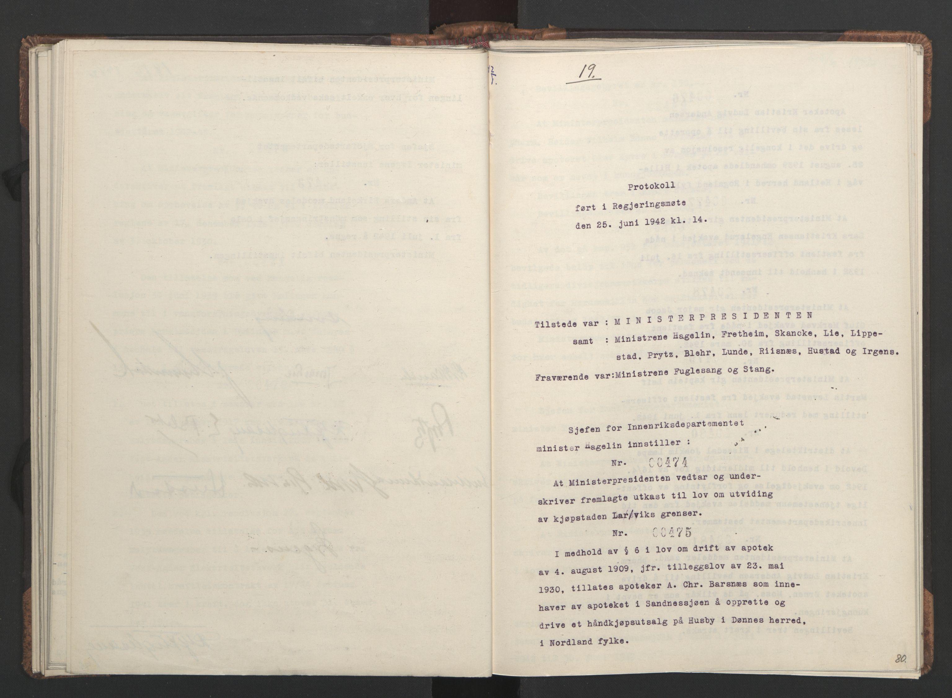 RA, NS-administrasjonen 1940-1945 (Statsrådsekretariatet, de kommisariske statsråder mm), D/Da/L0001: Beslutninger og tillegg (1-952 og 1-32), 1942, s. 79b-80a