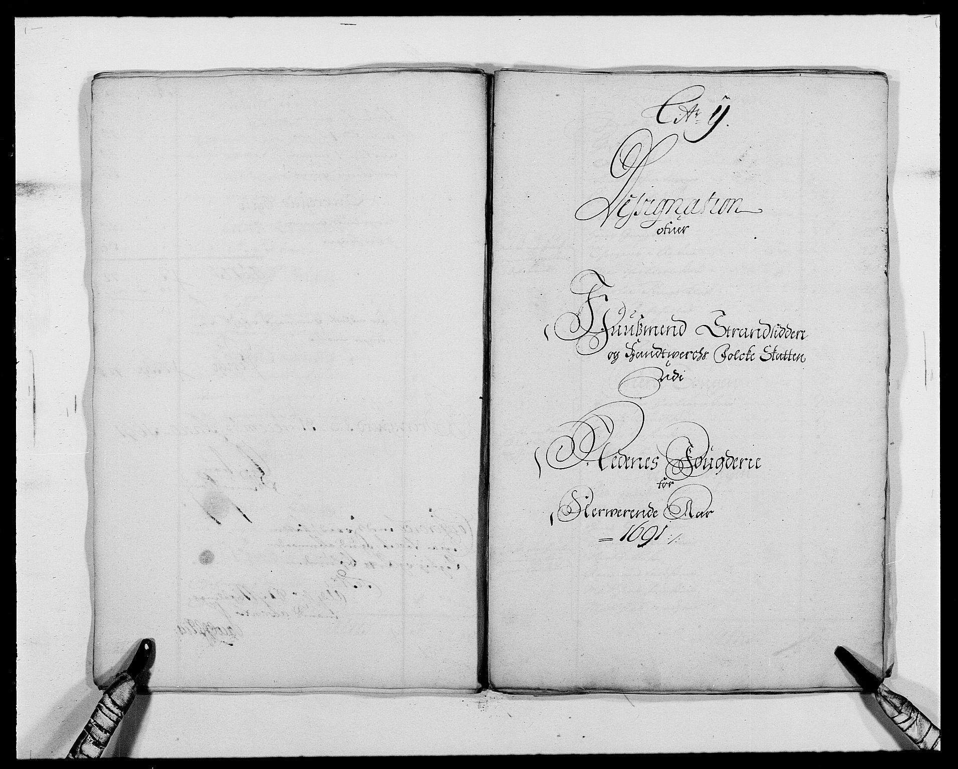 RA, Rentekammeret inntil 1814, Reviderte regnskaper, Fogderegnskap, R39/L2311: Fogderegnskap Nedenes, 1690-1692, s. 95