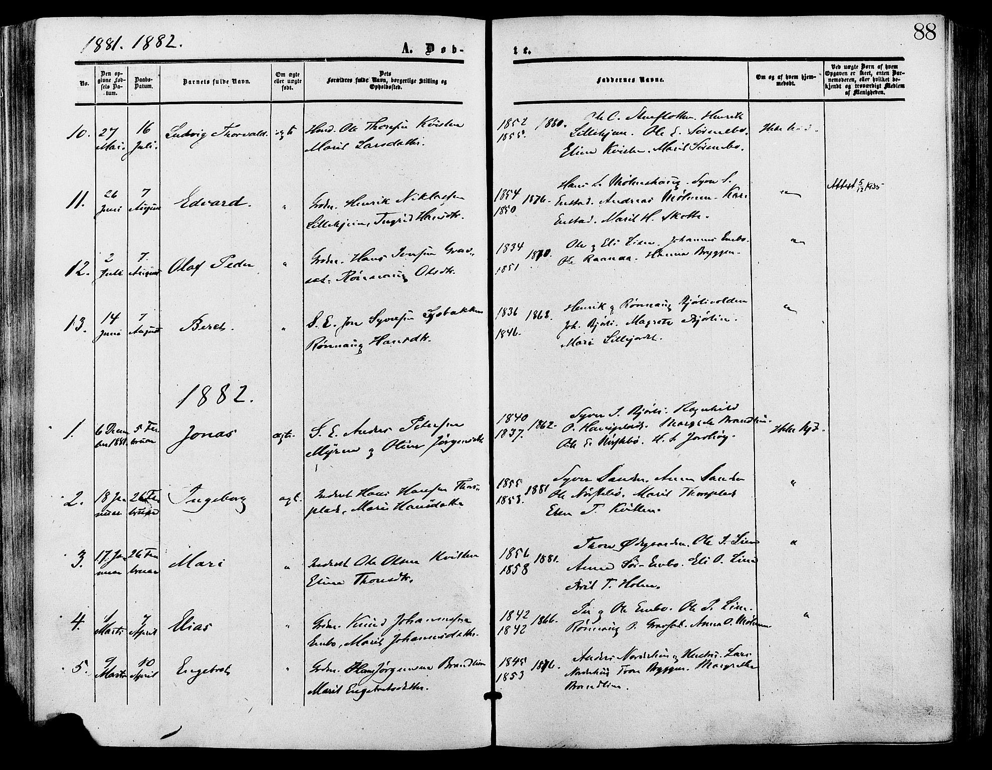 SAH, Lesja prestekontor, Ministerialbok nr. 9, 1854-1889, s. 88