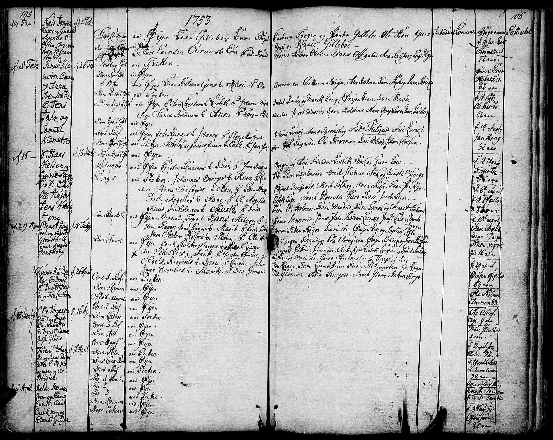 SAH, Øyer prestekontor, Ministerialbok nr. 2, 1733-1784, s. 105-106