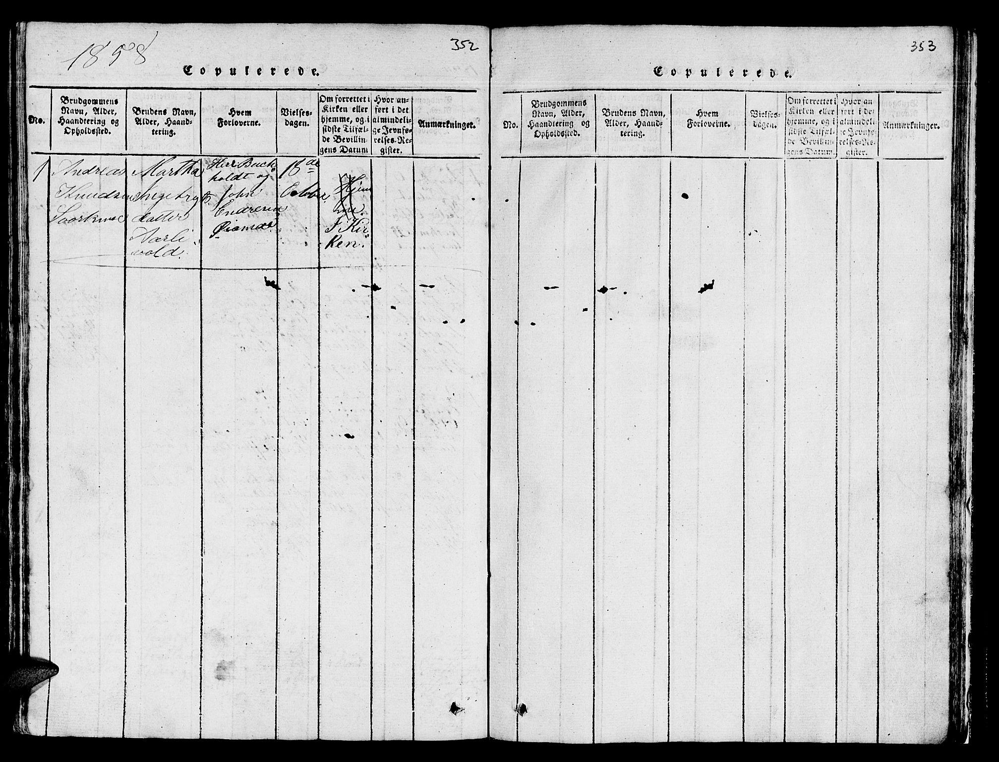 SAT, Ministerialprotokoller, klokkerbøker og fødselsregistre - Sør-Trøndelag, 671/L0842: Klokkerbok nr. 671C01, 1816-1867, s. 352-353