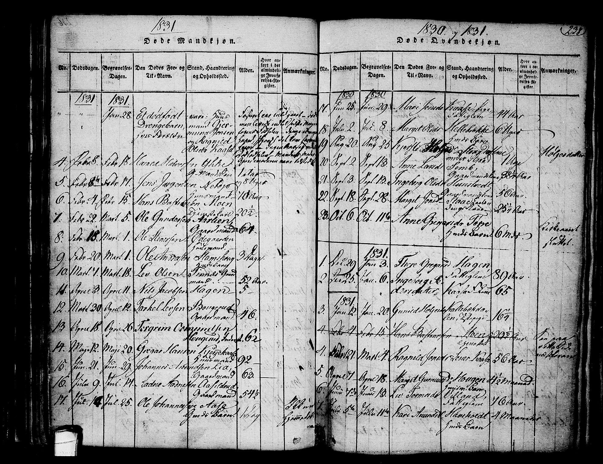 SAKO, Heddal kirkebøker, F/Fa/L0005: Ministerialbok nr. I 5, 1814-1837, s. 237-238