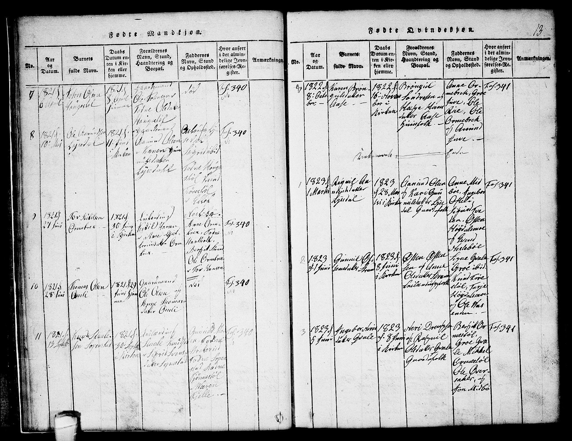 SAKO, Lårdal kirkebøker, G/Gc/L0001: Klokkerbok nr. III 1, 1815-1854, s. 13