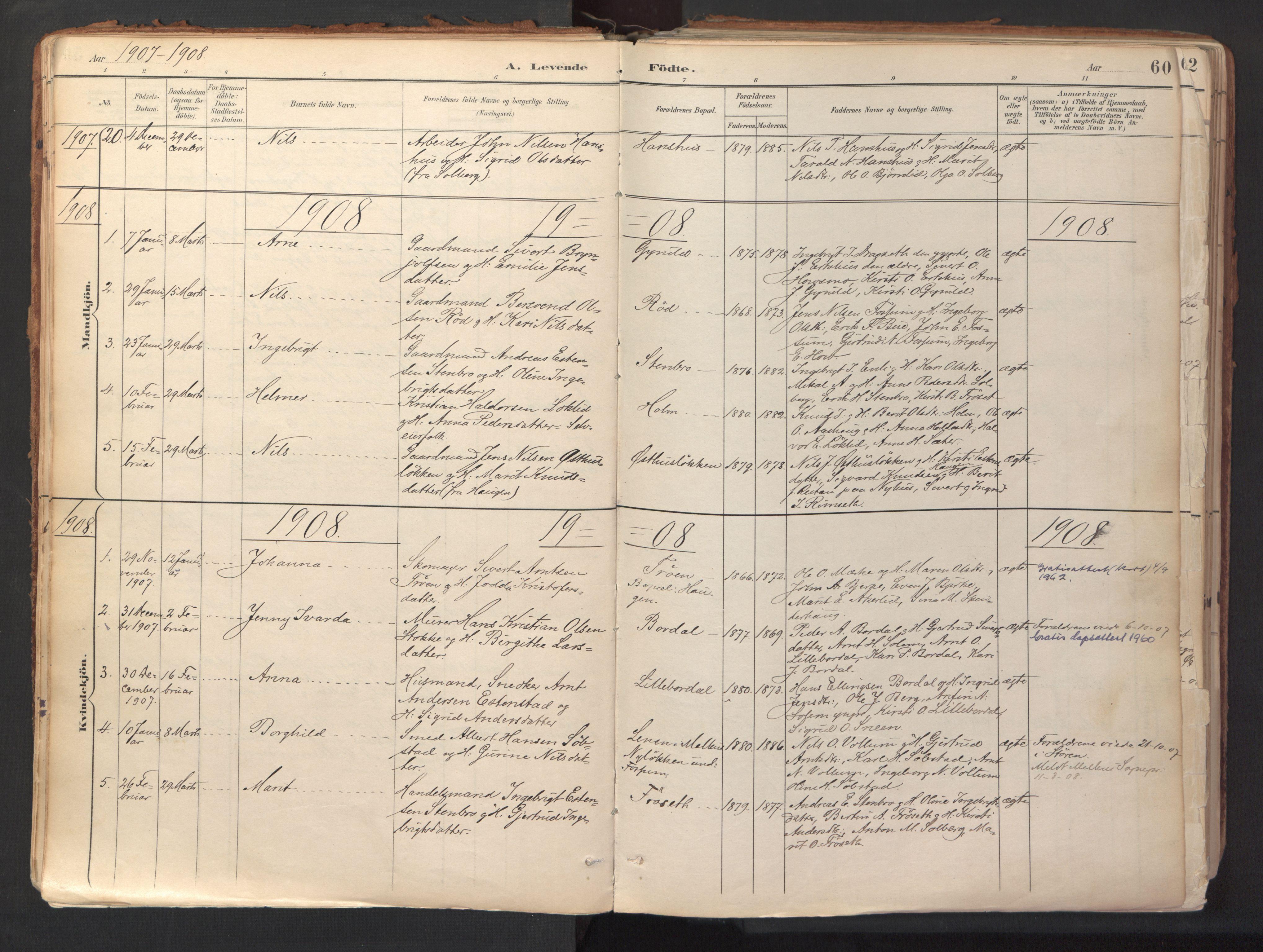 SAT, Ministerialprotokoller, klokkerbøker og fødselsregistre - Sør-Trøndelag, 689/L1041: Ministerialbok nr. 689A06, 1891-1923, s. 60
