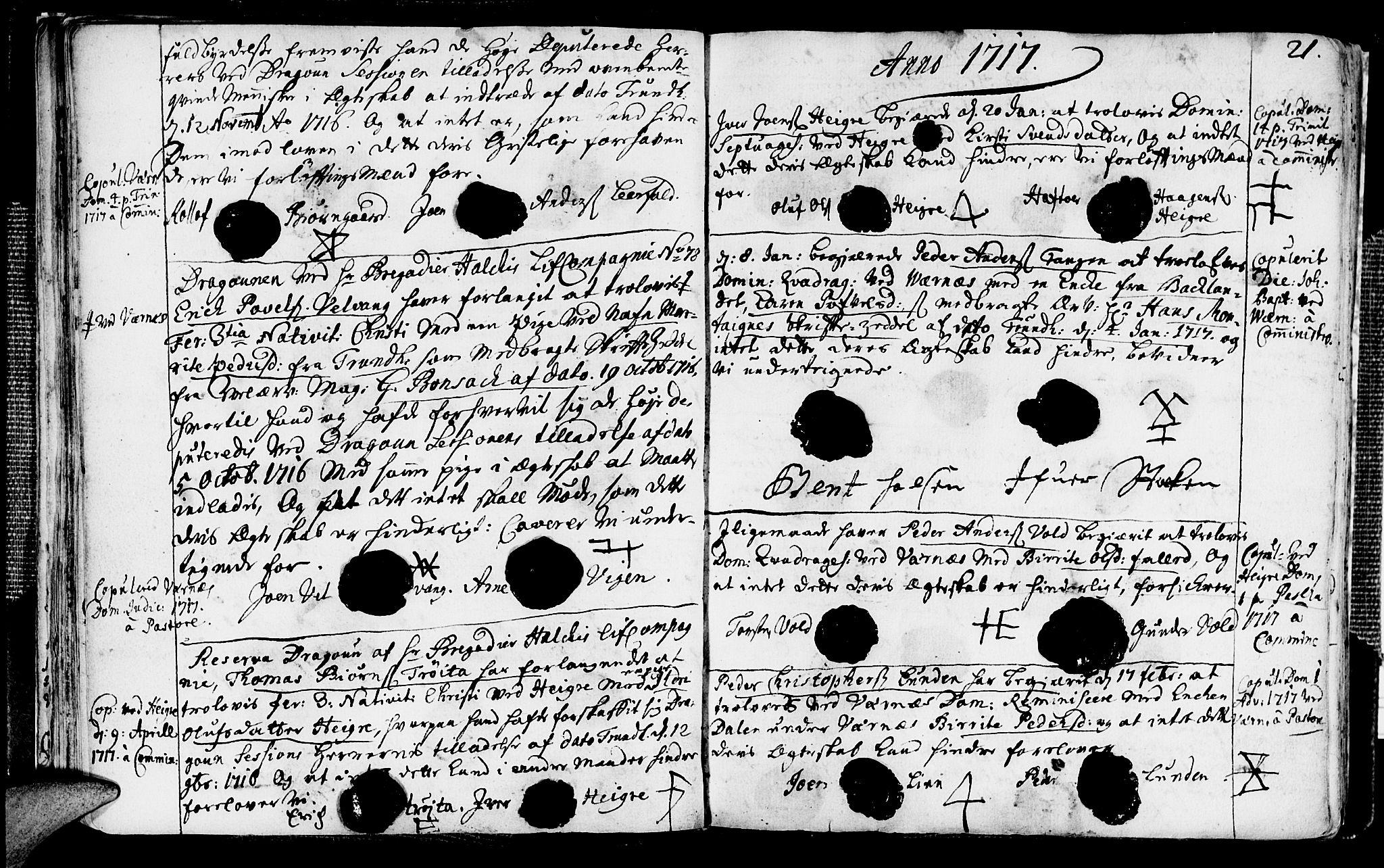 SAT, Ministerialprotokoller, klokkerbøker og fødselsregistre - Nord-Trøndelag, 709/L0053: Ministerialbok nr. 709A01, 1714-1729, s. 21