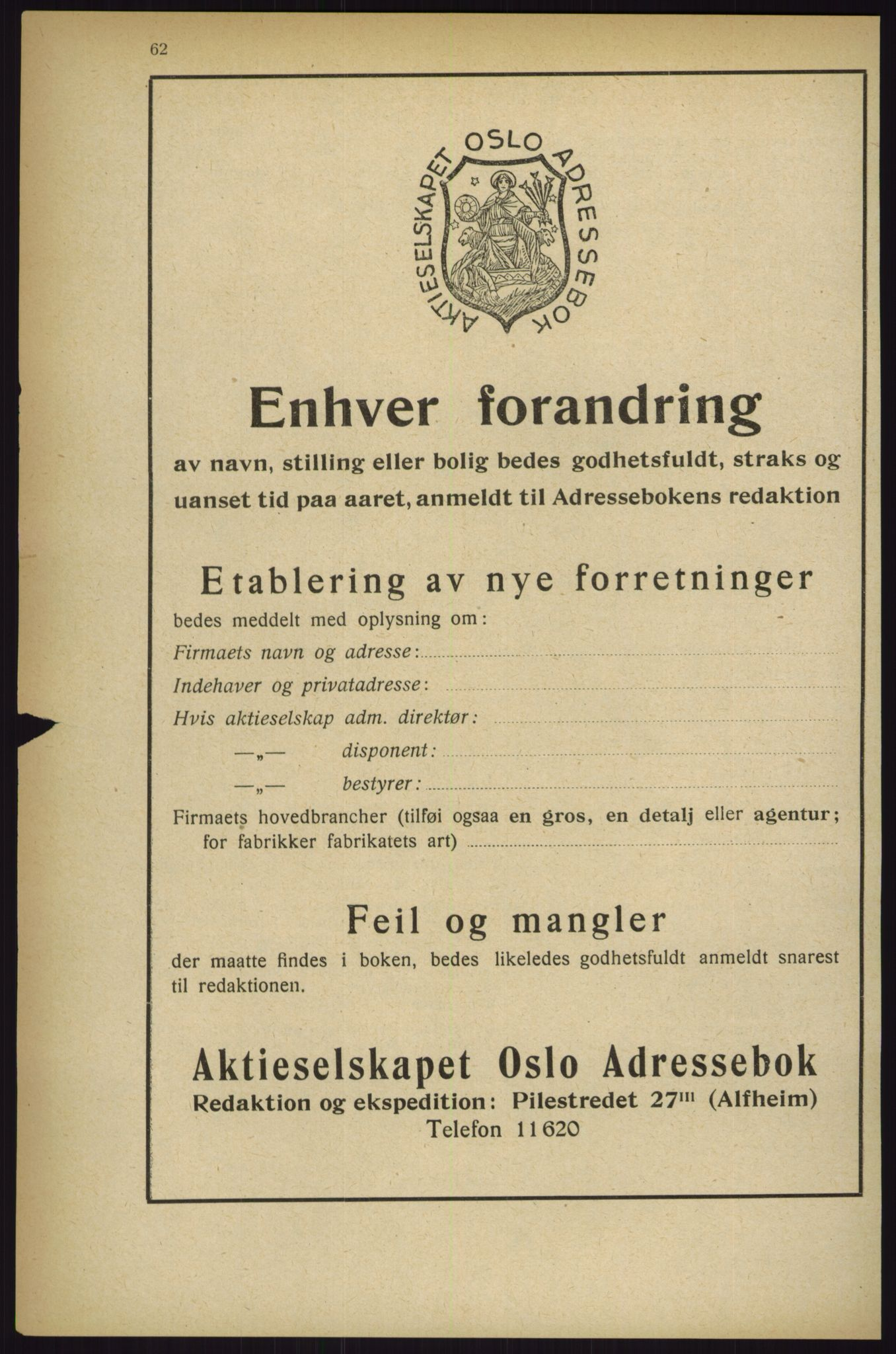 RA, Oslo adressebok (publikasjon)*, 1927, s. 62