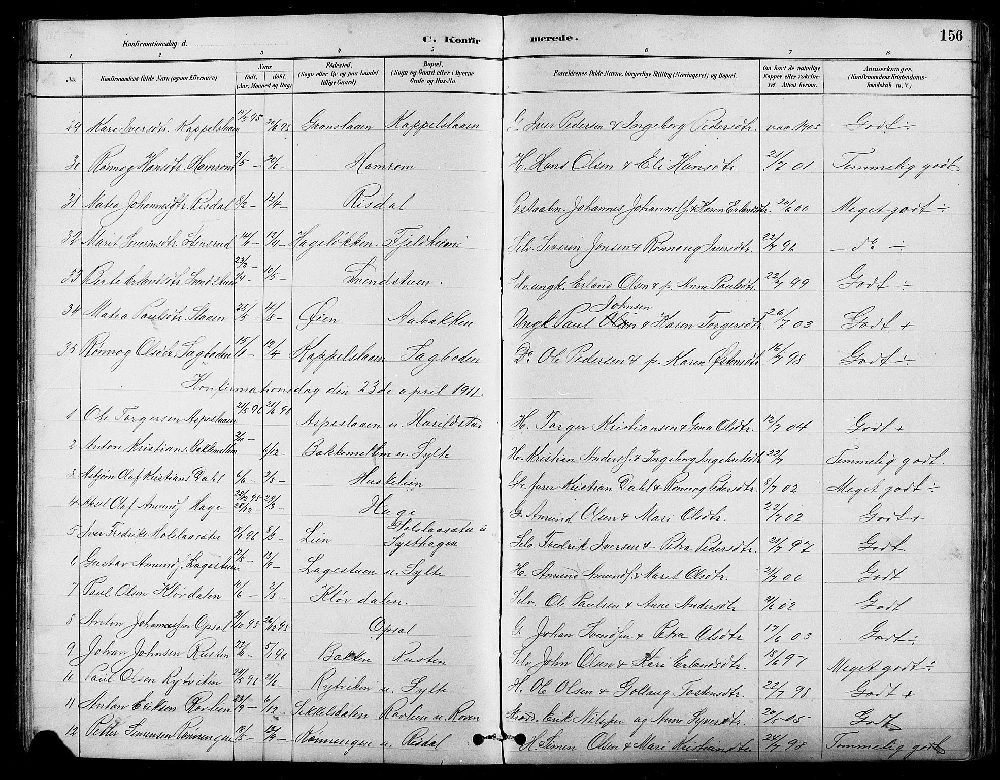 SAH, Nord-Fron prestekontor, Klokkerbok nr. 5, 1884-1914, s. 156