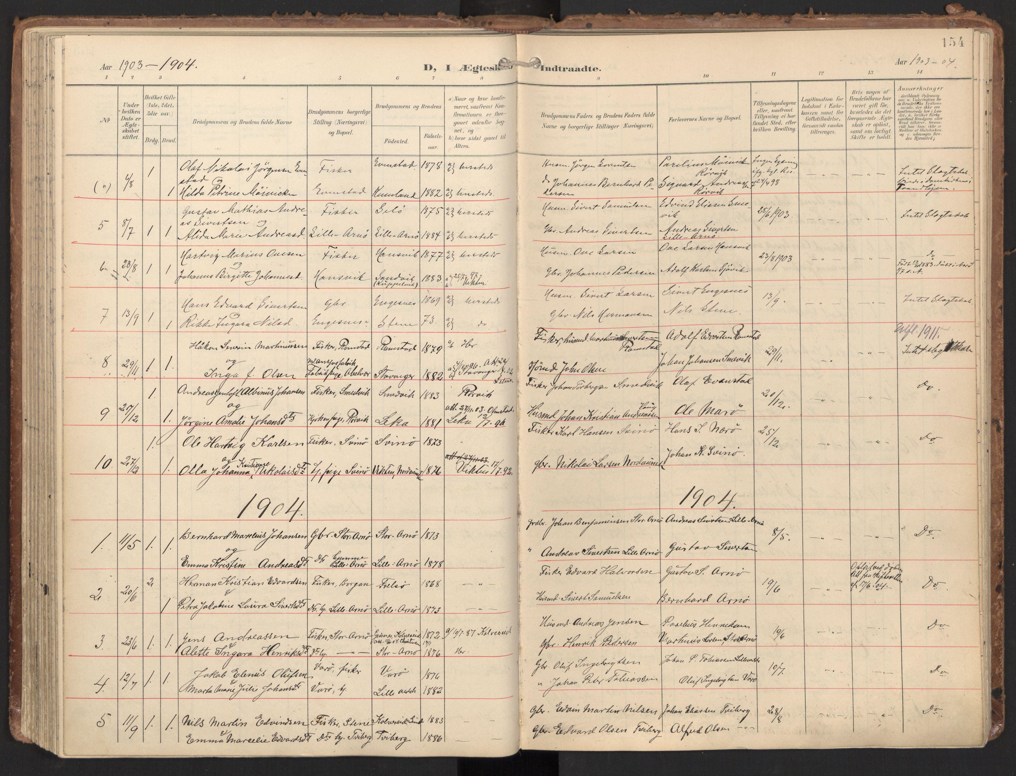 SAT, Ministerialprotokoller, klokkerbøker og fødselsregistre - Nord-Trøndelag, 784/L0677: Ministerialbok nr. 784A12, 1900-1920, s. 154