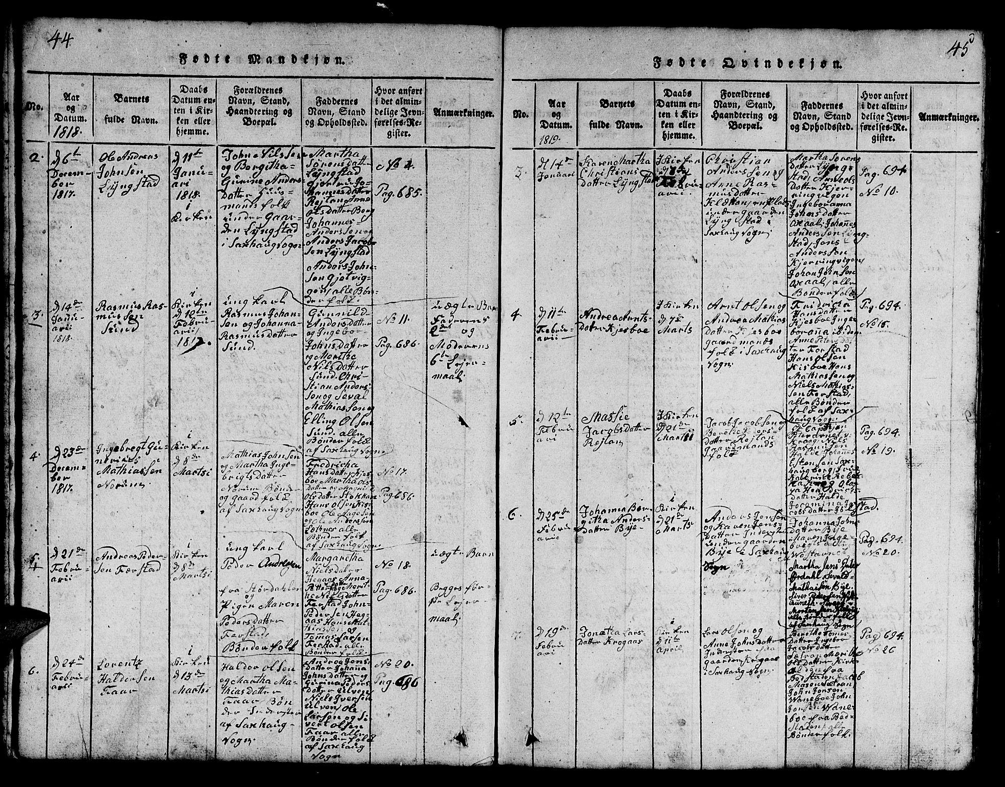 SAT, Ministerialprotokoller, klokkerbøker og fødselsregistre - Nord-Trøndelag, 730/L0298: Klokkerbok nr. 730C01, 1816-1849, s. 44-45
