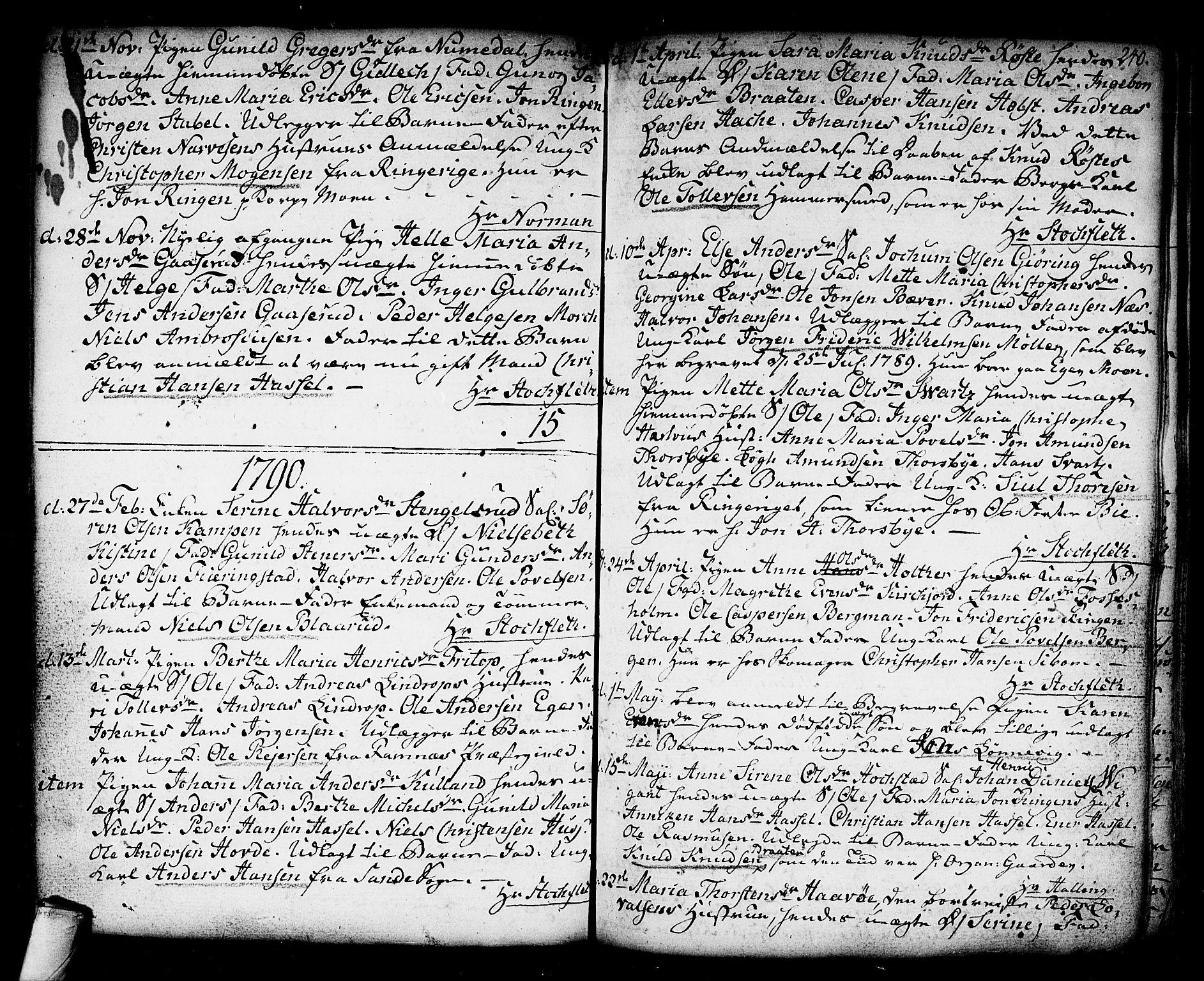 SAKO, Kongsberg kirkebøker, F/Fa/L0006: Ministerialbok nr. I 6, 1783-1797, s. 240