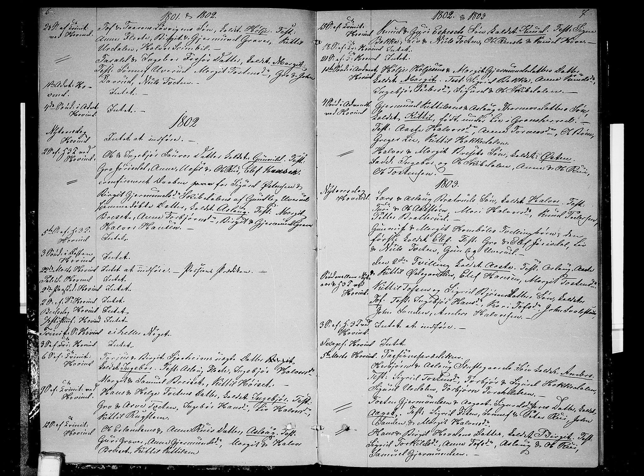 SAKO, Gransherad kirkebøker, F/Fb/L0001: Ministerialbok nr. II 1, 1800-1814, s. 6-7