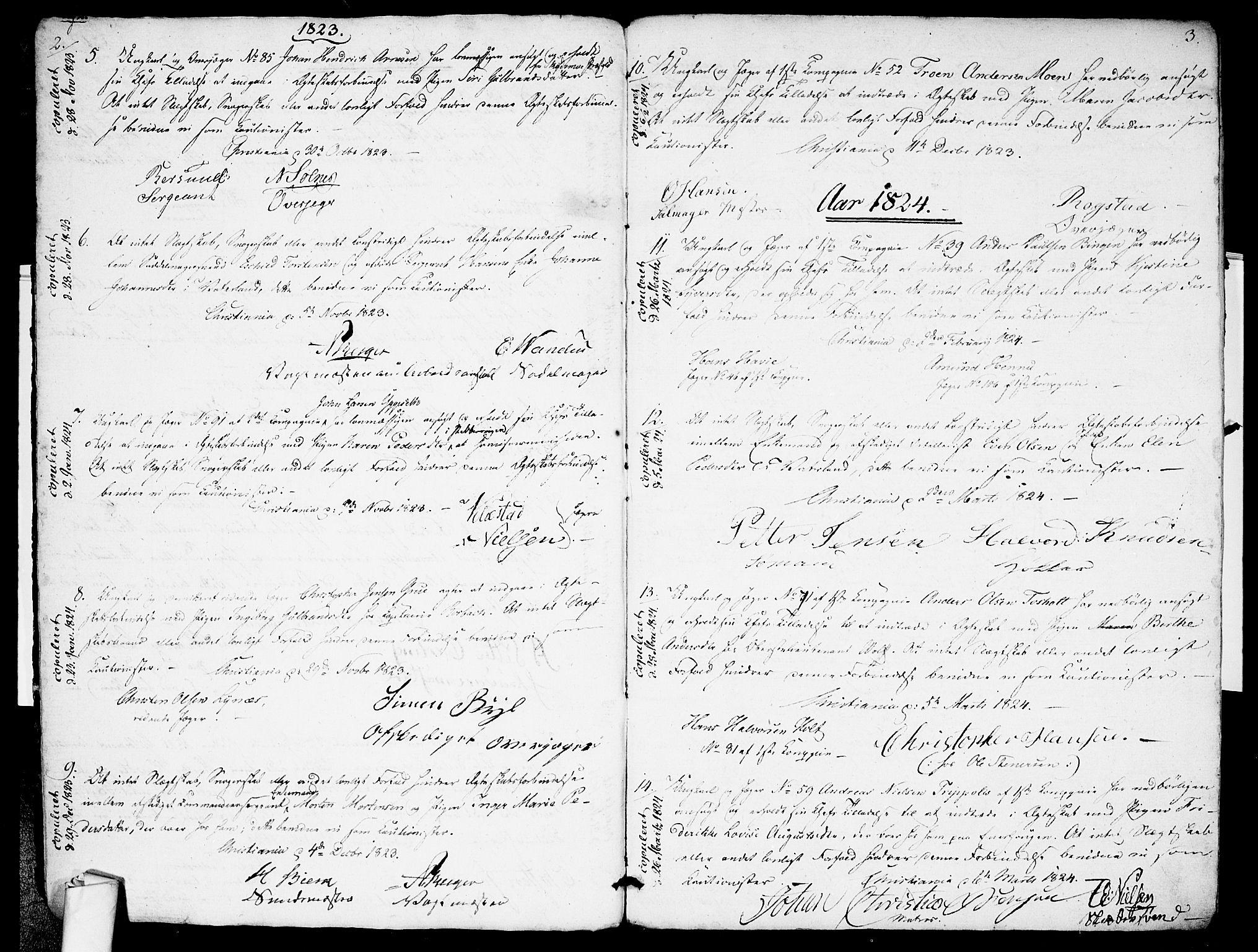 SAO, Garnisonsmenigheten Kirkebøker, H/Ha/L0001: Lysningsprotokoll nr. I 1, 1823-1828, s. 2-3
