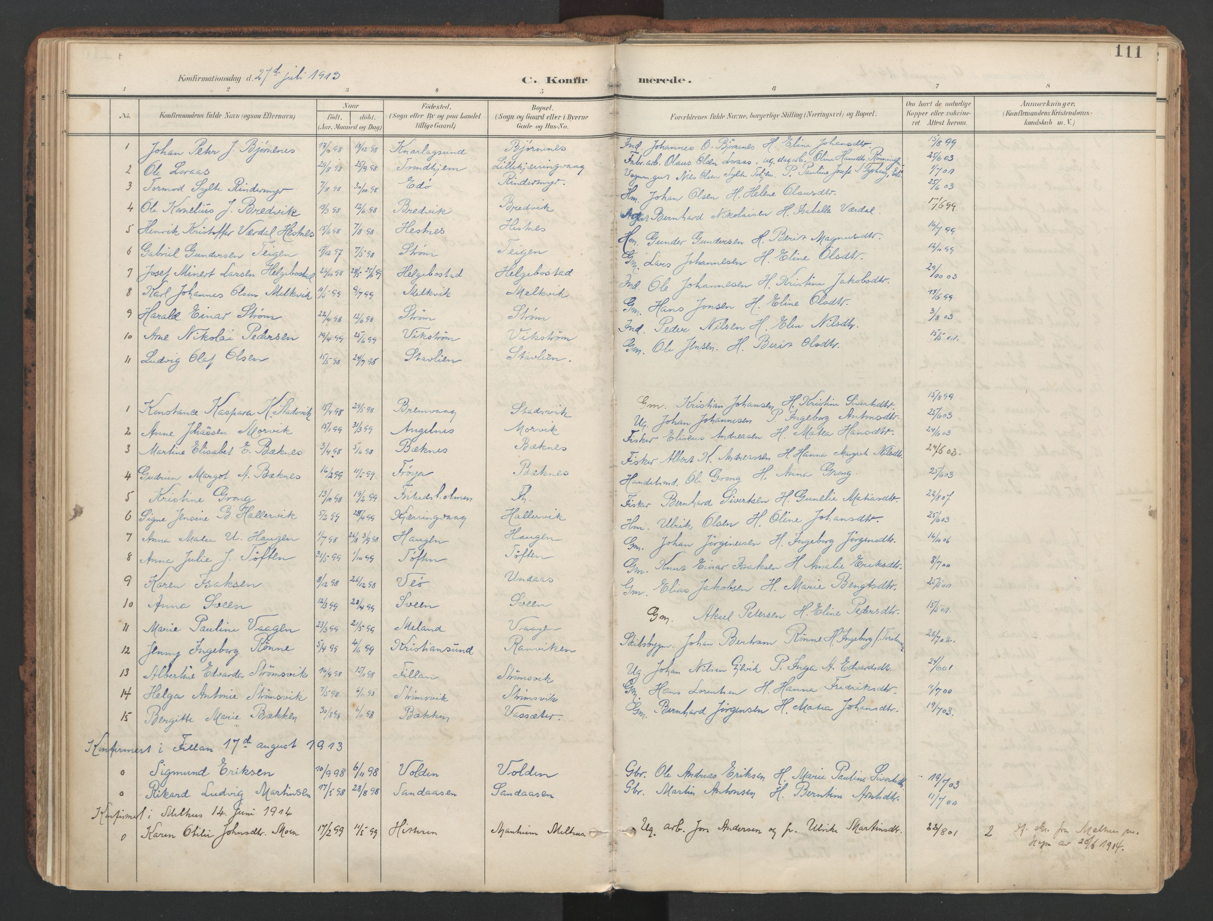 SAT, Ministerialprotokoller, klokkerbøker og fødselsregistre - Sør-Trøndelag, 634/L0537: Ministerialbok nr. 634A13, 1896-1922, s. 111