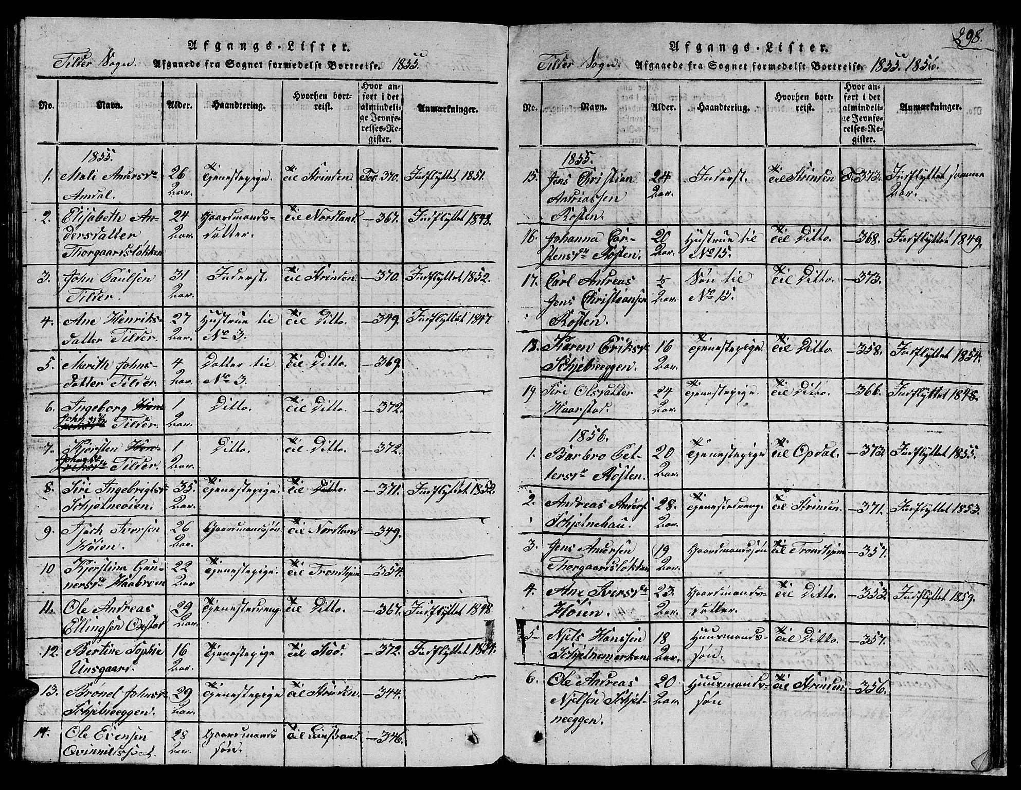 SAT, Ministerialprotokoller, klokkerbøker og fødselsregistre - Sør-Trøndelag, 621/L0458: Klokkerbok nr. 621C01, 1816-1865, s. 298