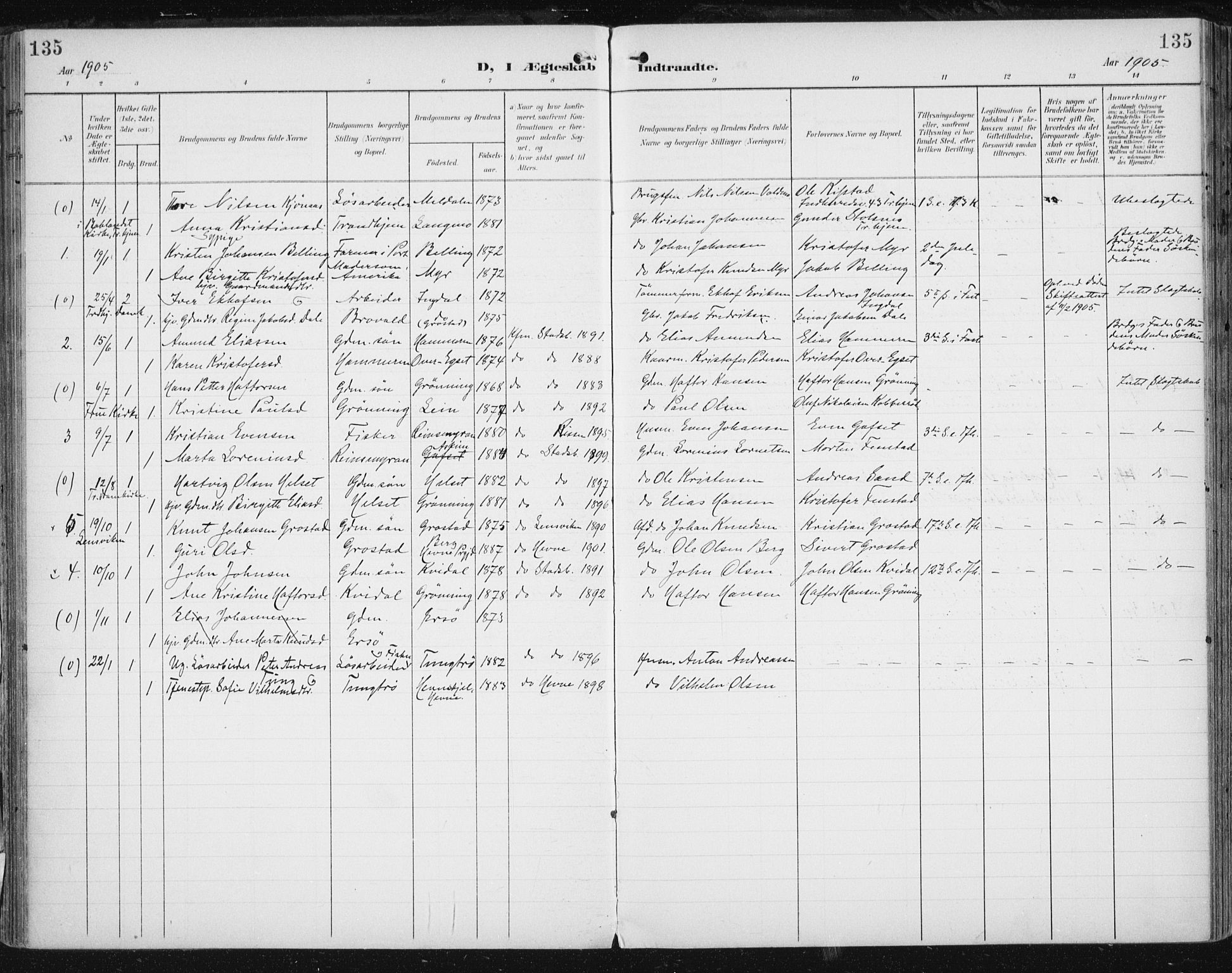 SAT, Ministerialprotokoller, klokkerbøker og fødselsregistre - Sør-Trøndelag, 646/L0616: Ministerialbok nr. 646A14, 1900-1918, s. 135