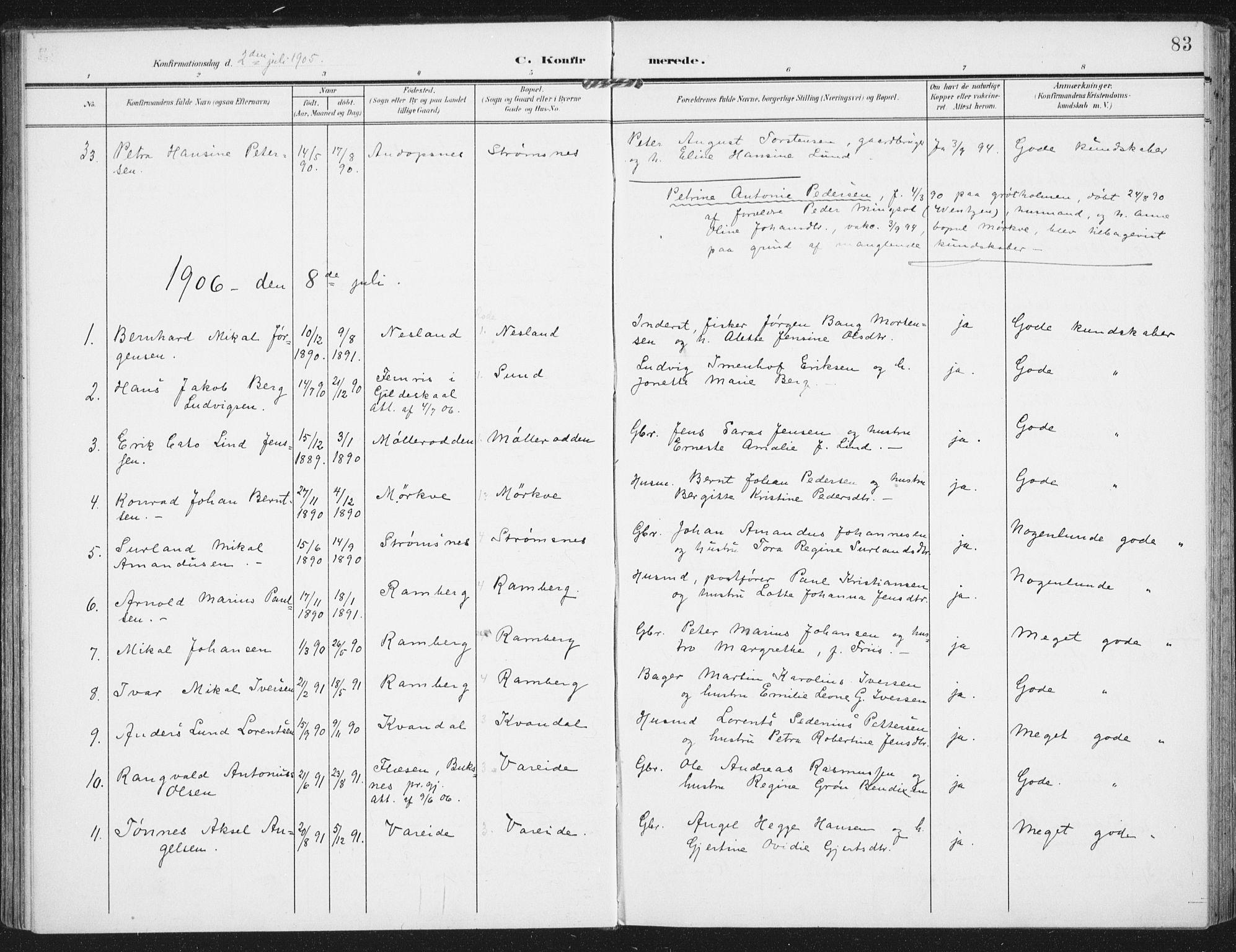 SAT, Ministerialprotokoller, klokkerbøker og fødselsregistre - Nordland, 885/L1206: Ministerialbok nr. 885A07, 1905-1915, s. 83
