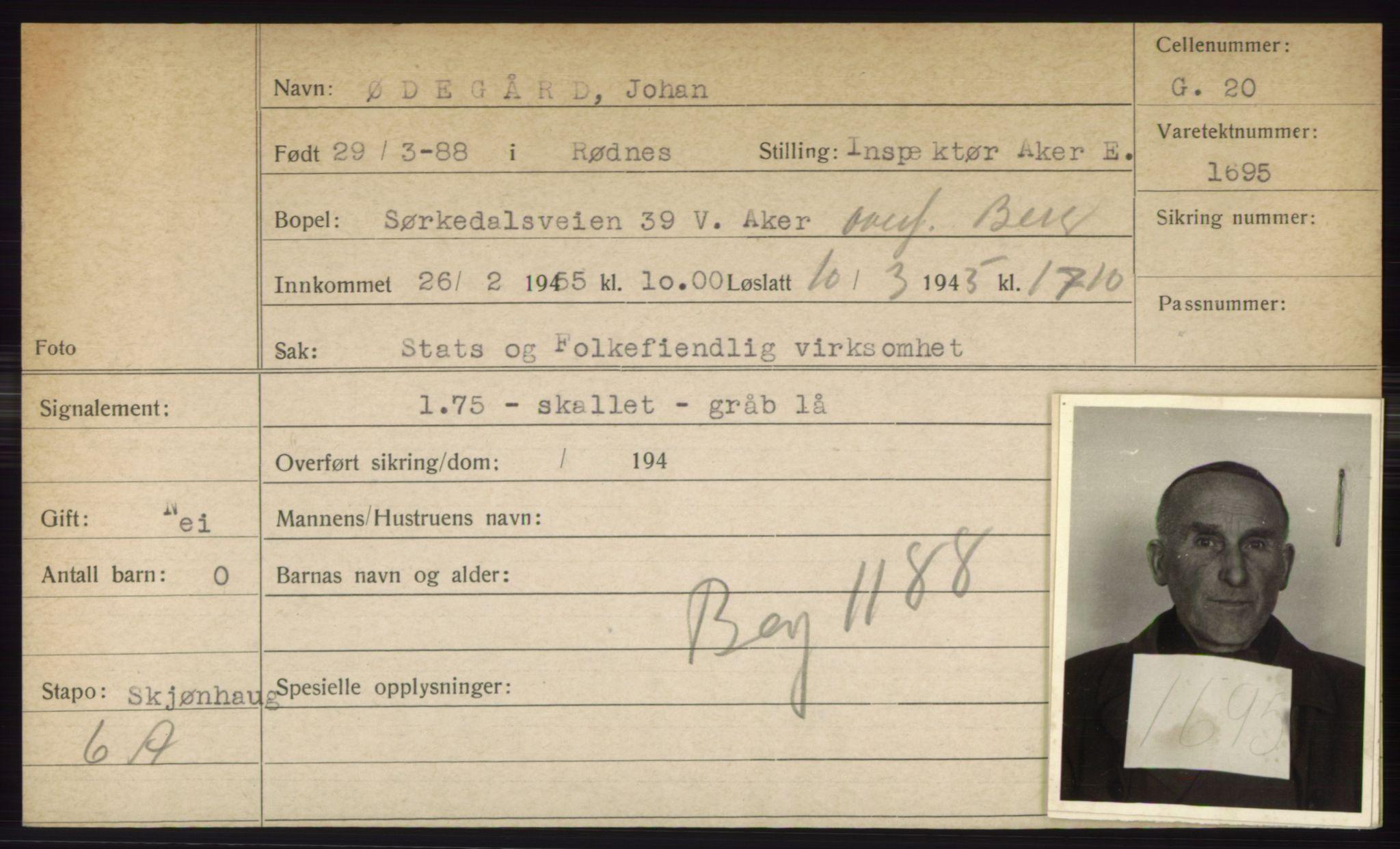 RA, Statspolitiet - Hovedkontoret / Osloavdelingen, C/Ck/Cke/L0005: Fangeregister S-Å, 1941-1945, s. 693