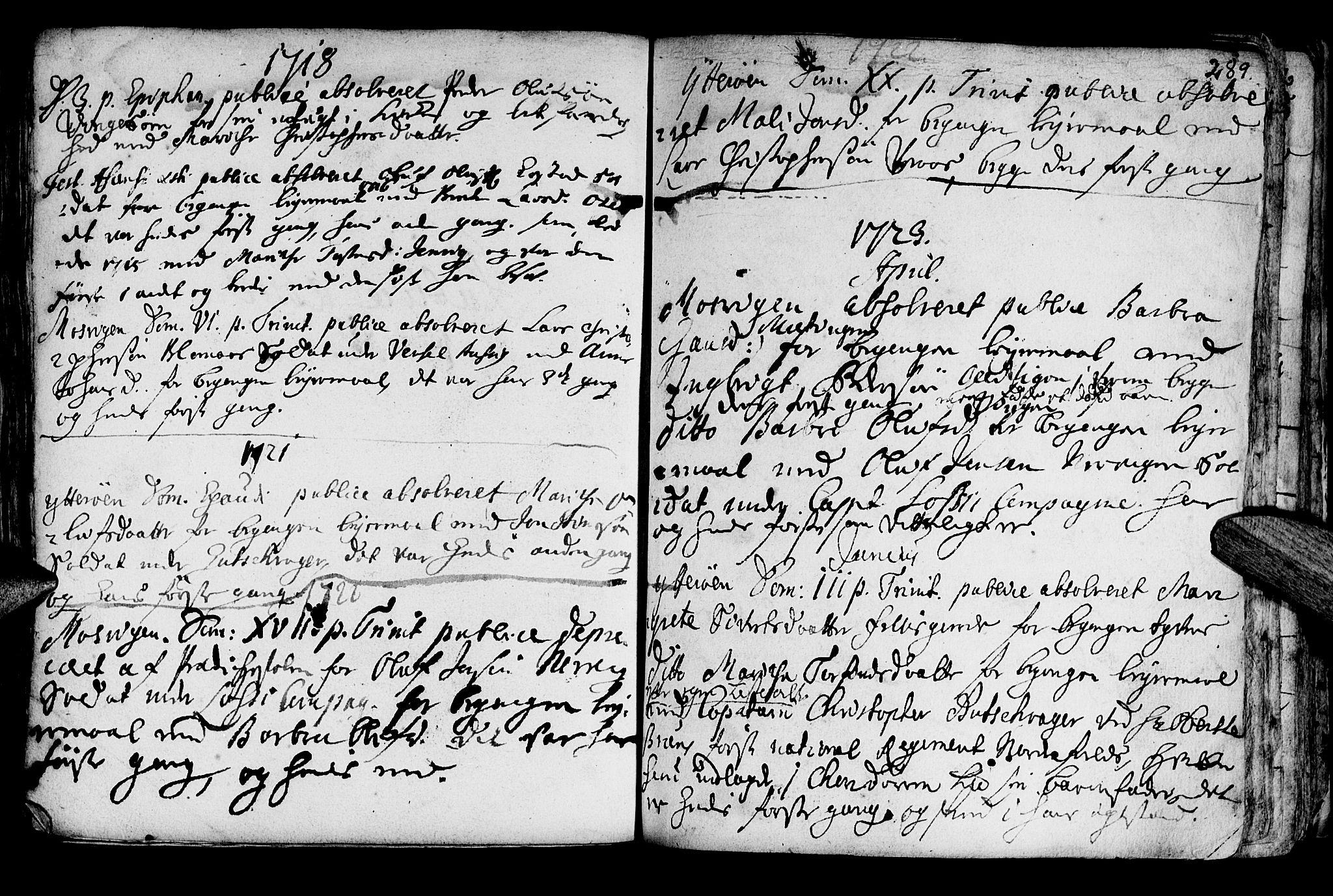 SAT, Ministerialprotokoller, klokkerbøker og fødselsregistre - Nord-Trøndelag, 722/L0215: Ministerialbok nr. 722A02, 1718-1755, s. 289