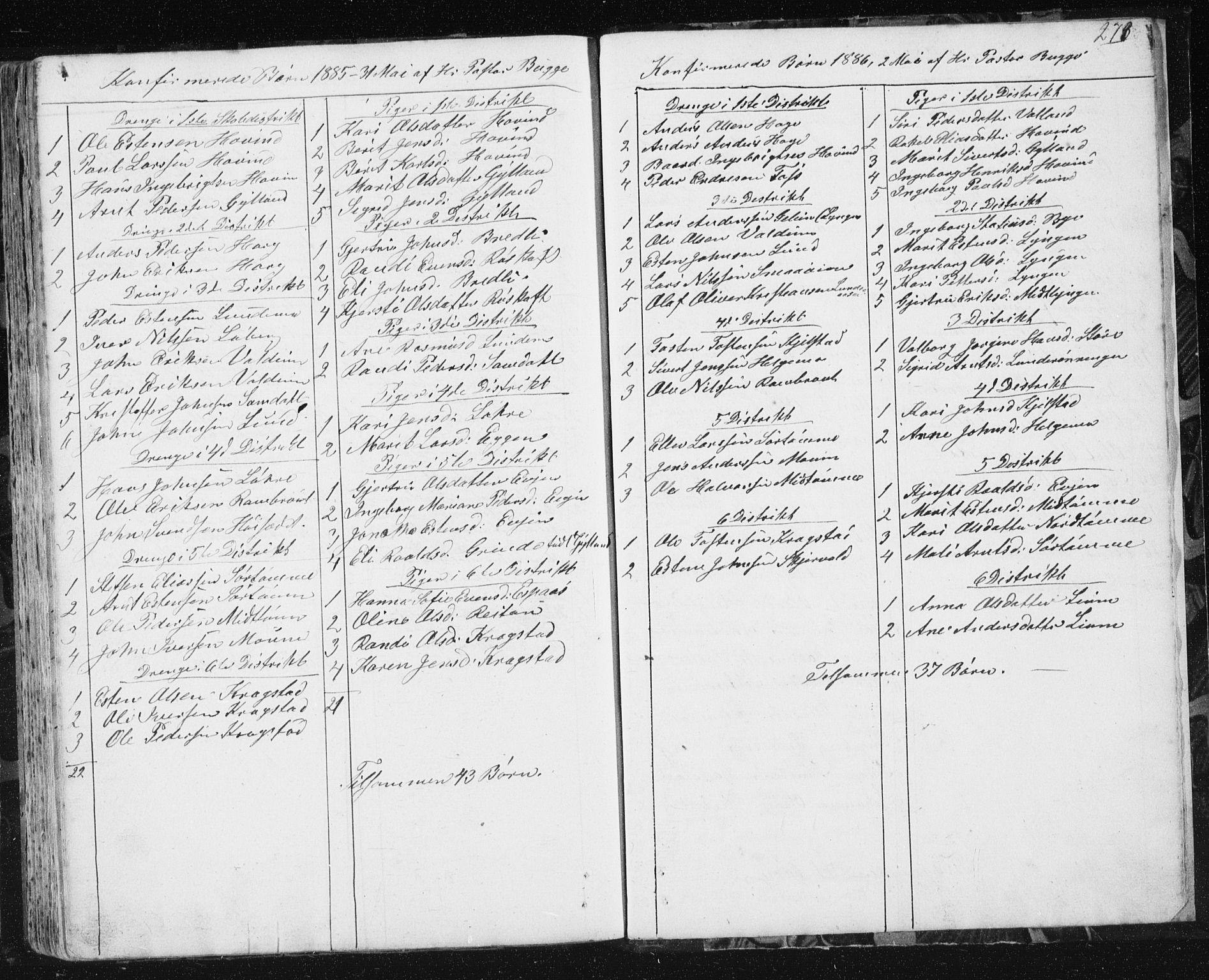 SAT, Ministerialprotokoller, klokkerbøker og fødselsregistre - Sør-Trøndelag, 692/L1110: Klokkerbok nr. 692C05, 1849-1889, s. 273