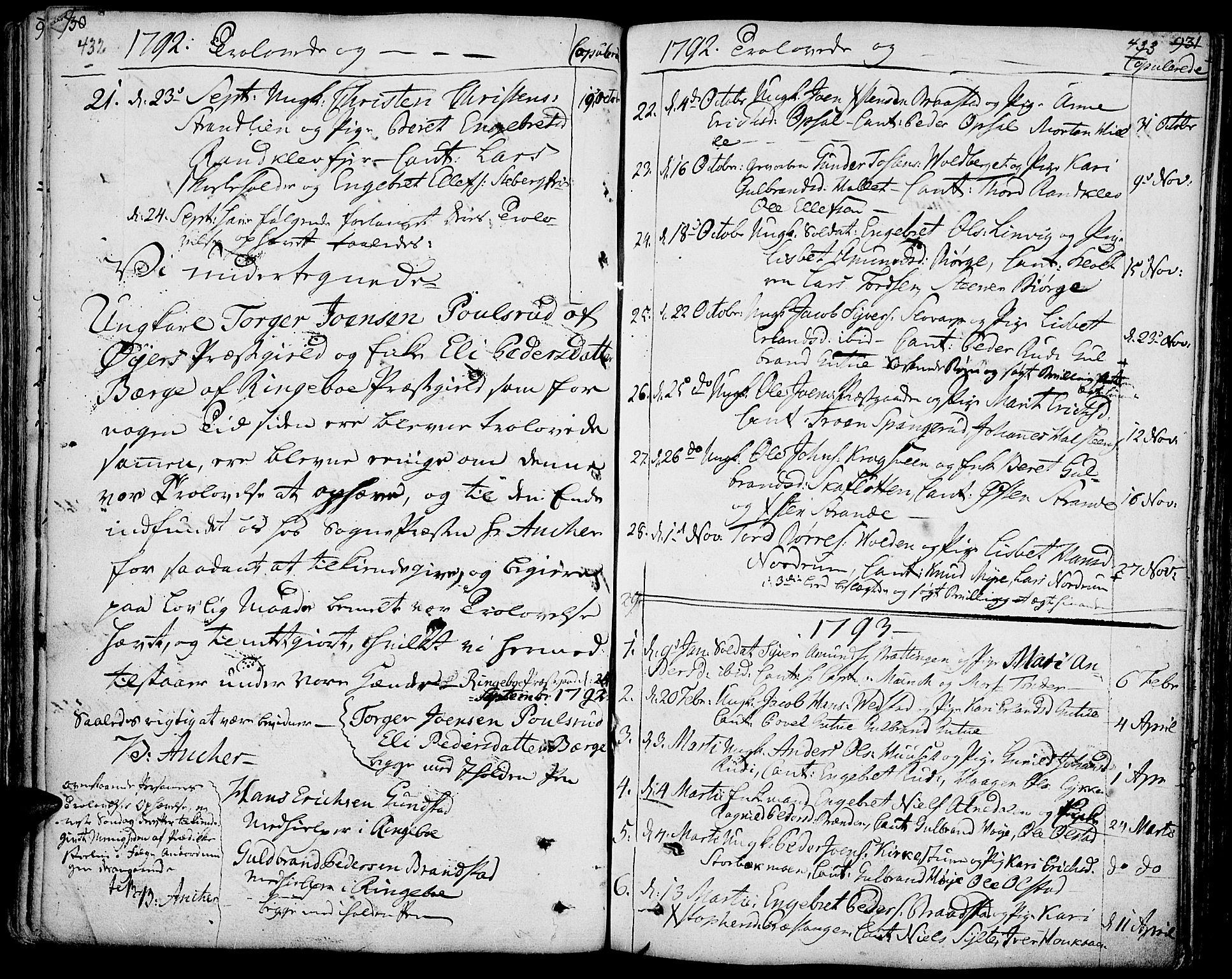 SAH, Ringebu prestekontor, Ministerialbok nr. 3, 1781-1820, s. 432-433