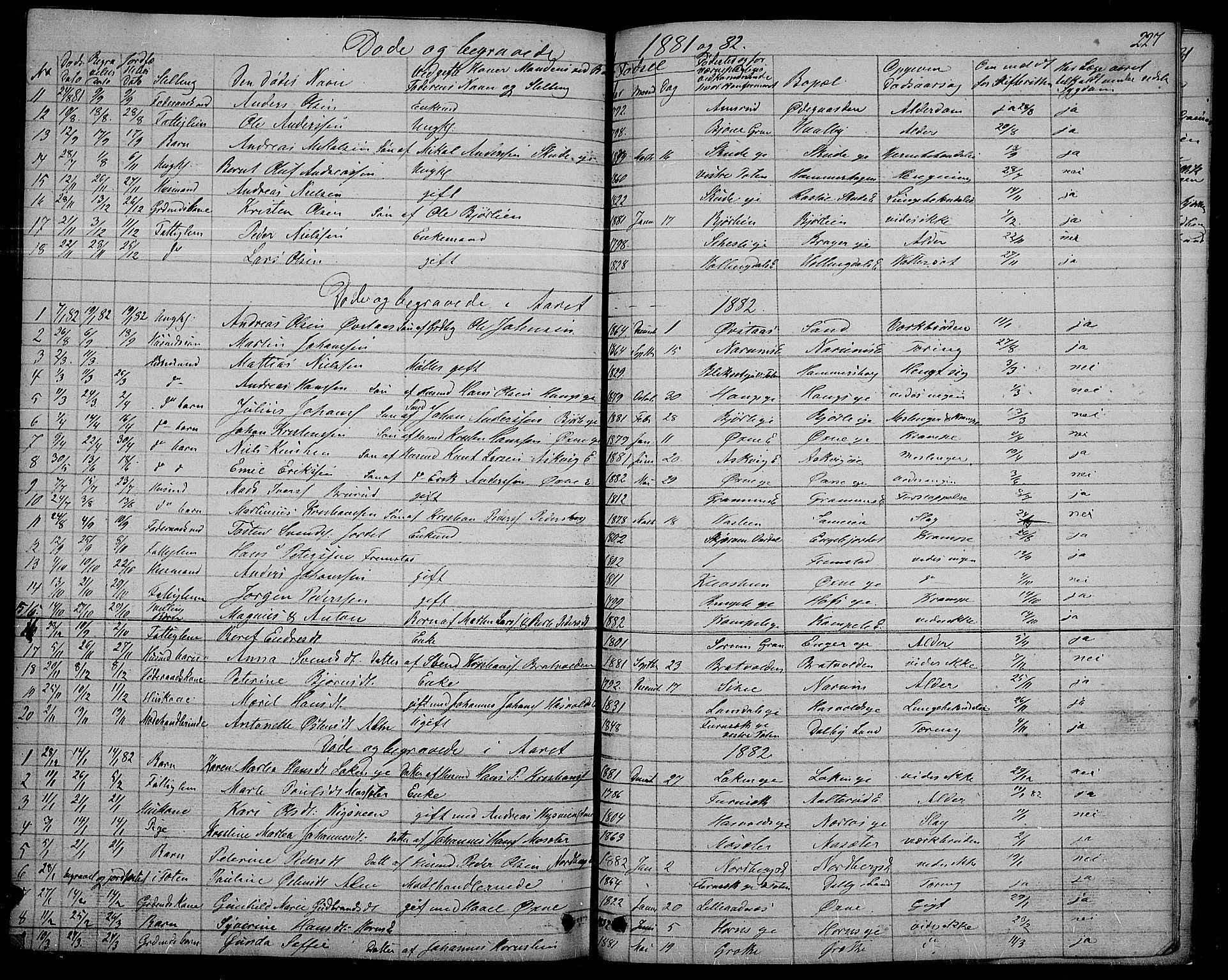 SAH, Søndre Land prestekontor, L/L0001: Klokkerbok nr. 1, 1849-1883, s. 227