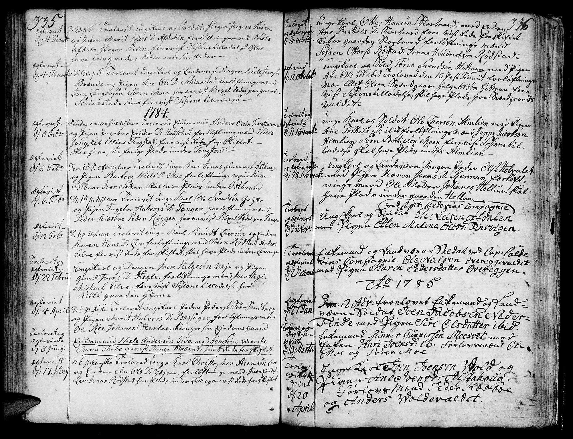 SAT, Ministerialprotokoller, klokkerbøker og fødselsregistre - Nord-Trøndelag, 717/L0141: Ministerialbok nr. 717A01, 1747-1803, s. 335-336