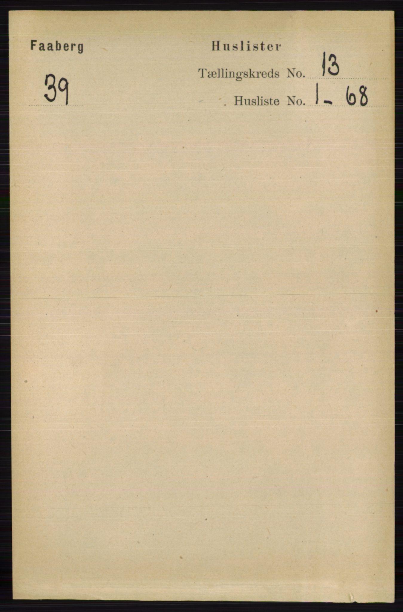 RA, Folketelling 1891 for 0524 Fåberg herred, 1891, s. 5174