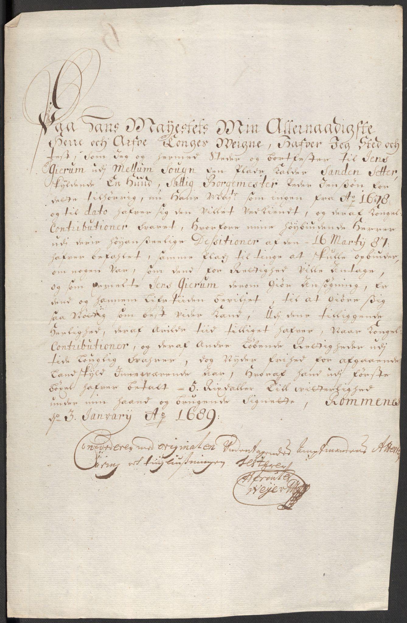 RA, Rentekammeret inntil 1814, Reviderte regnskaper, Fogderegnskap, R35/L2088: Fogderegnskap Øvre og Nedre Telemark, 1687-1689, s. 13