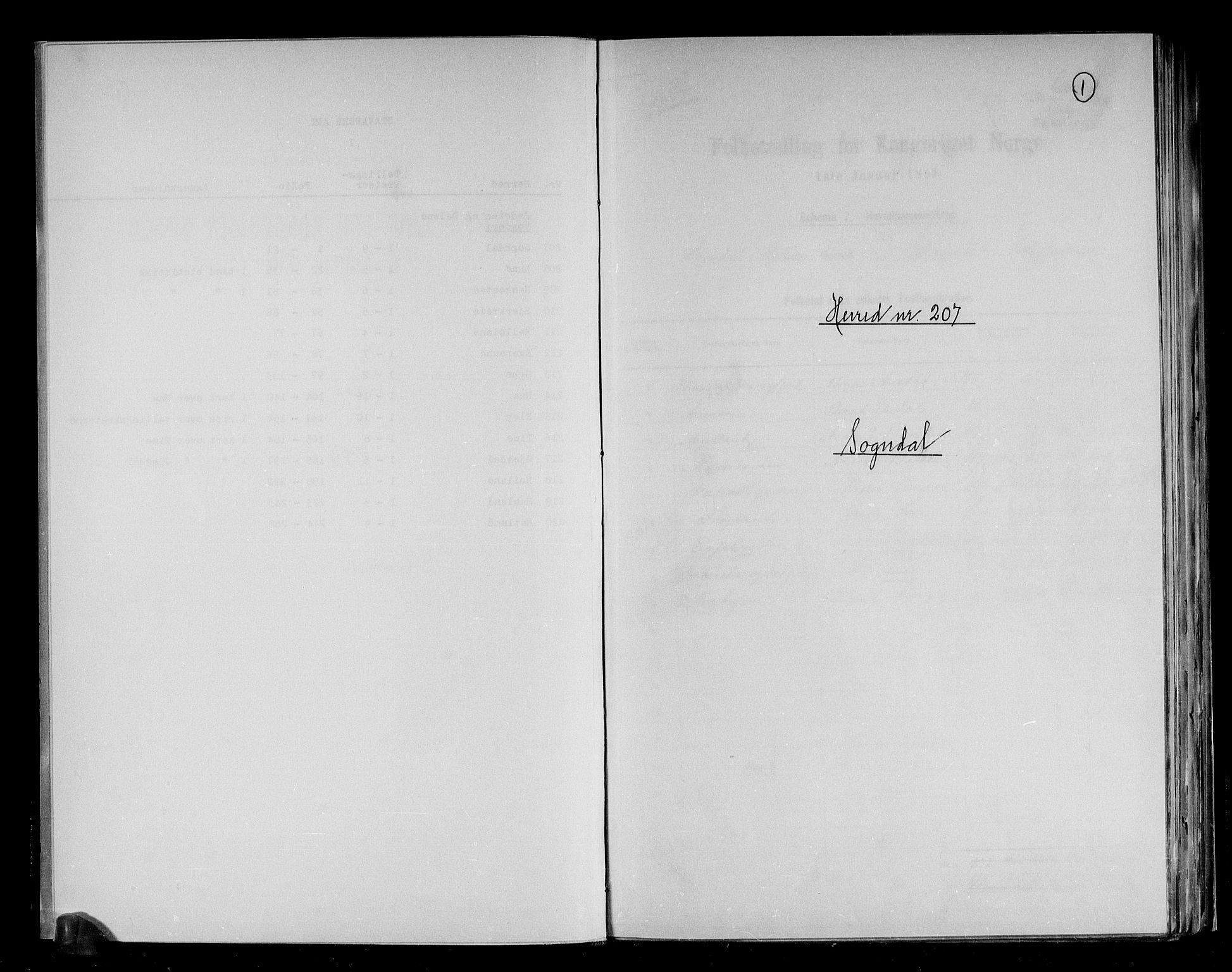 RA, Folketelling 1891 for 1111 Sokndal herred, 1891, s. 1