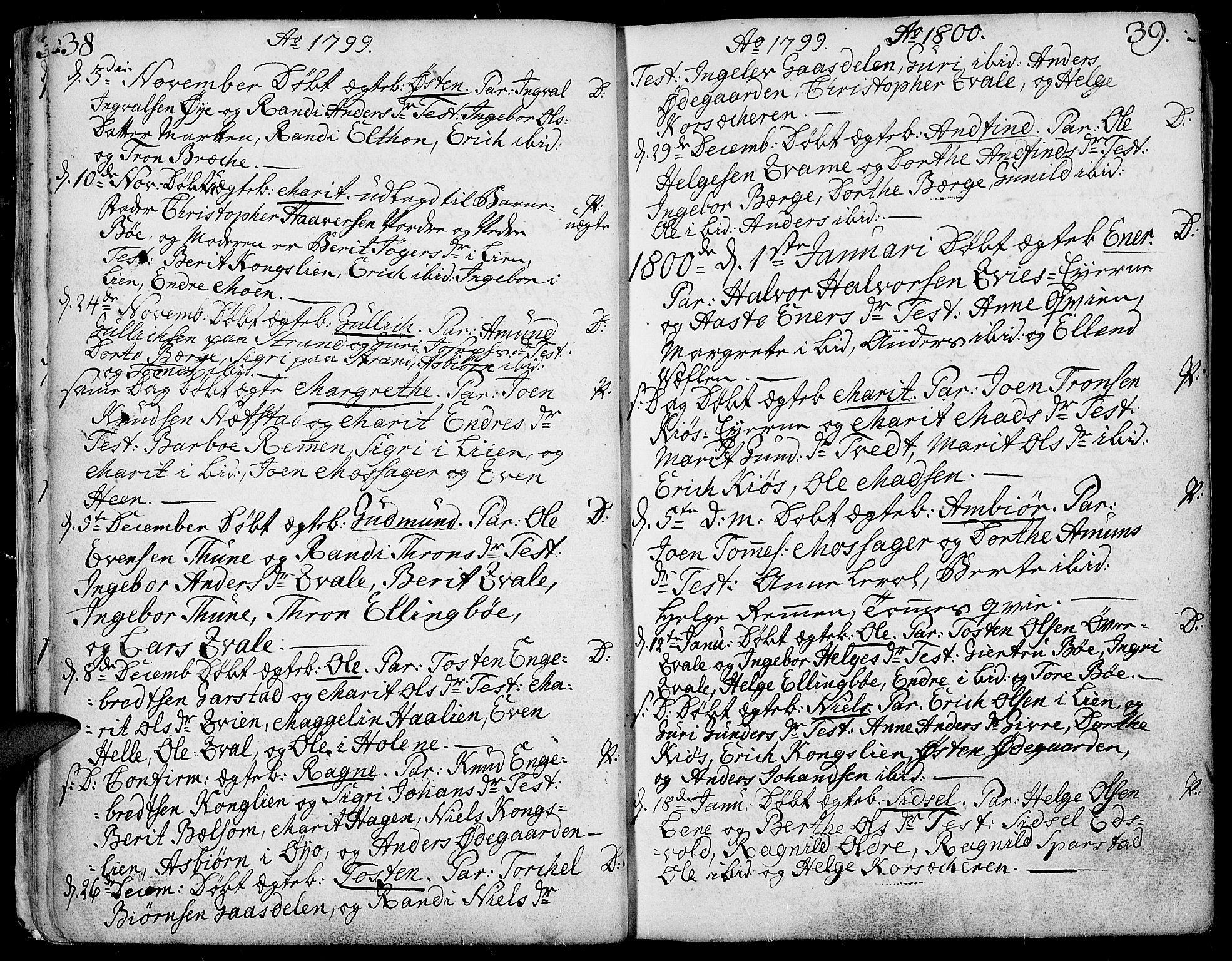 SAH, Vang prestekontor, Valdres, Ministerialbok nr. 2, 1796-1808, s. 38-39