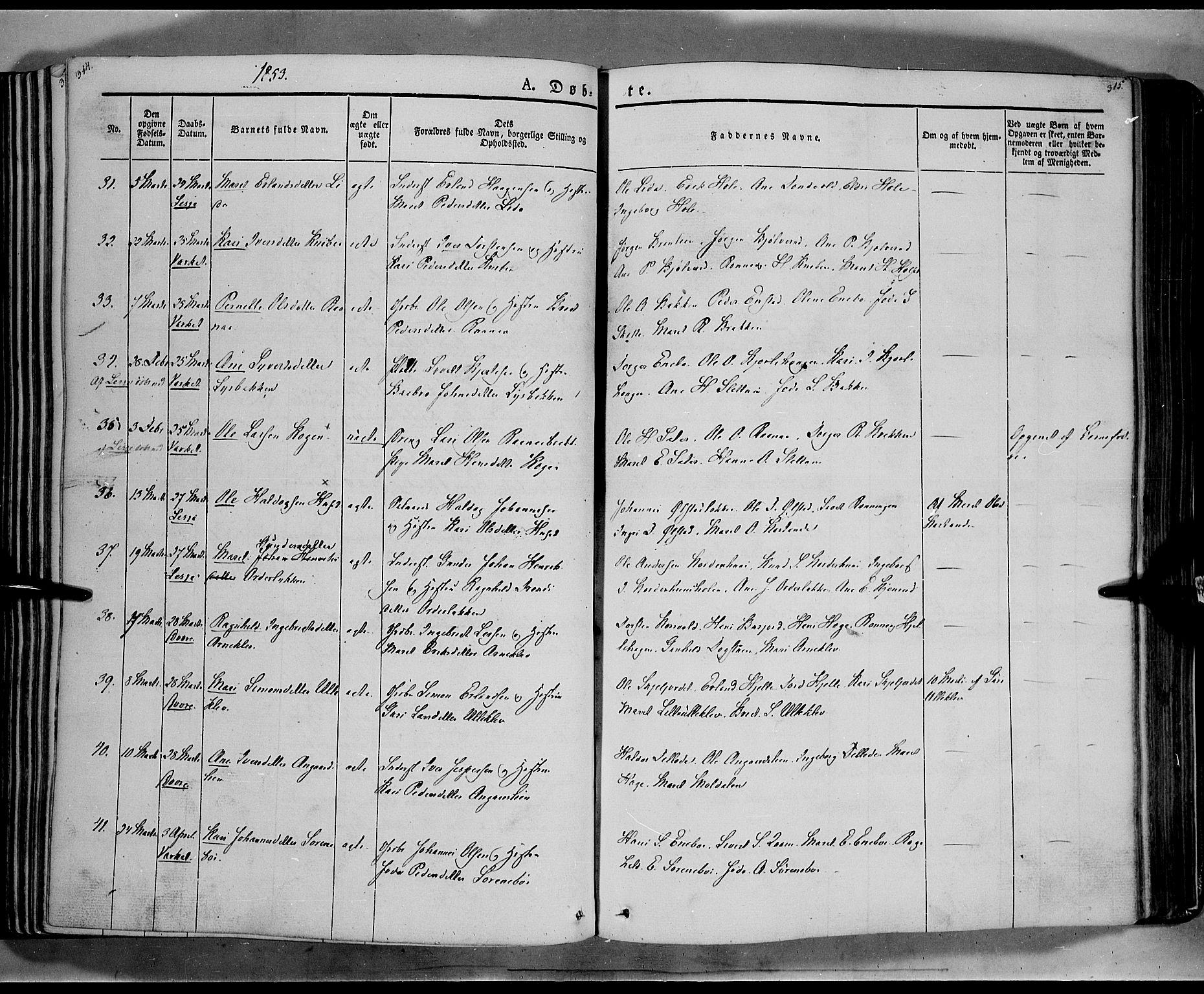 SAH, Lesja prestekontor, Ministerialbok nr. 6A, 1843-1854, s. 314-315