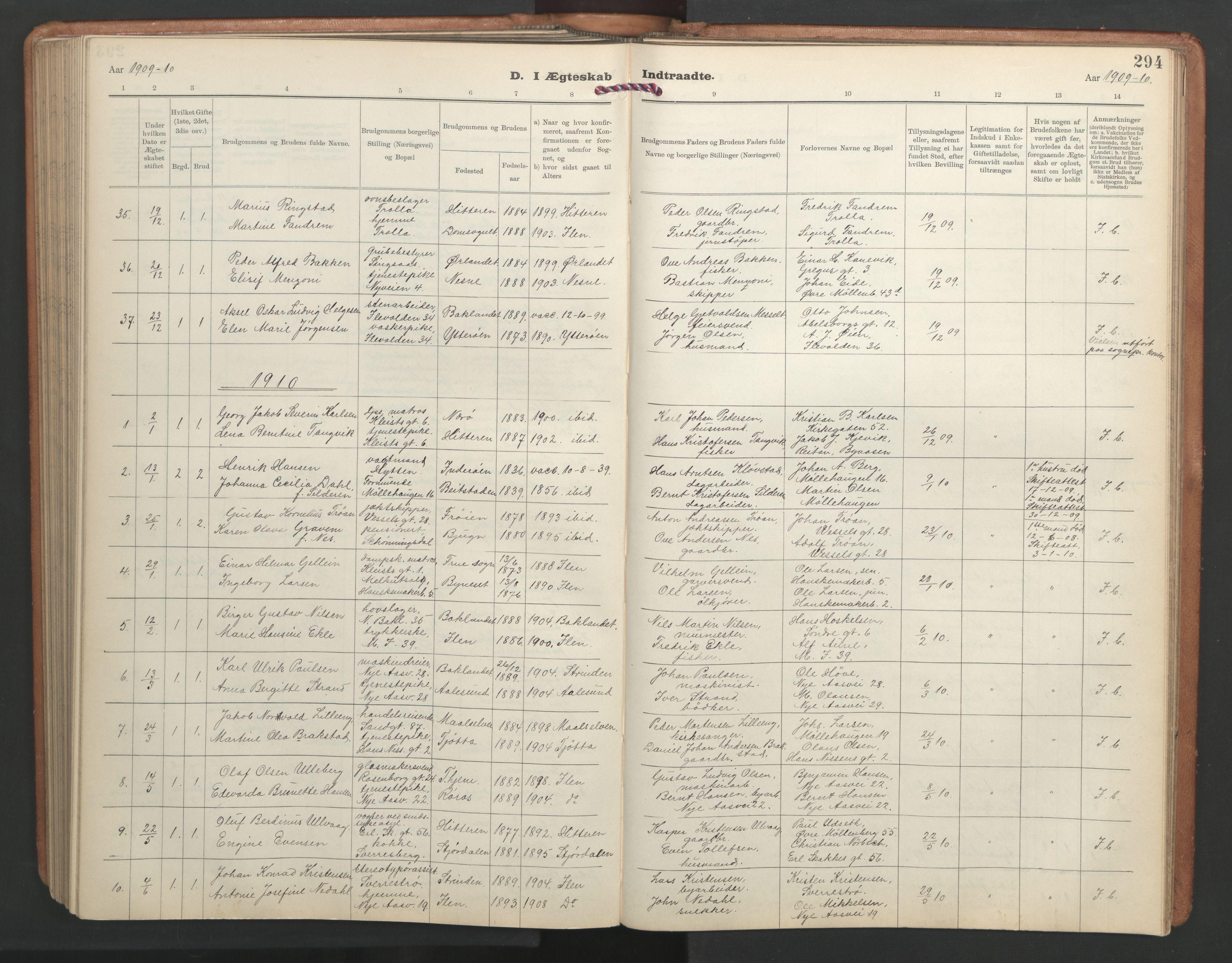 SAT, Ministerialprotokoller, klokkerbøker og fødselsregistre - Sør-Trøndelag, 603/L0173: Klokkerbok nr. 603C01, 1907-1962, s. 294