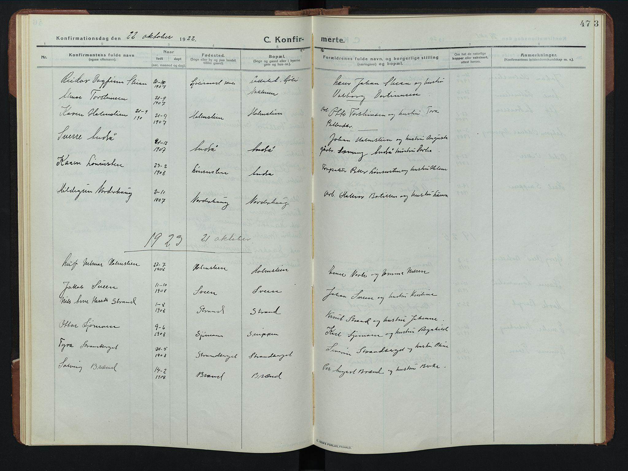 SAH, Rendalen prestekontor, H/Ha/Hab/L0008: Klokkerbok nr. 8, 1914-1948, s. 47